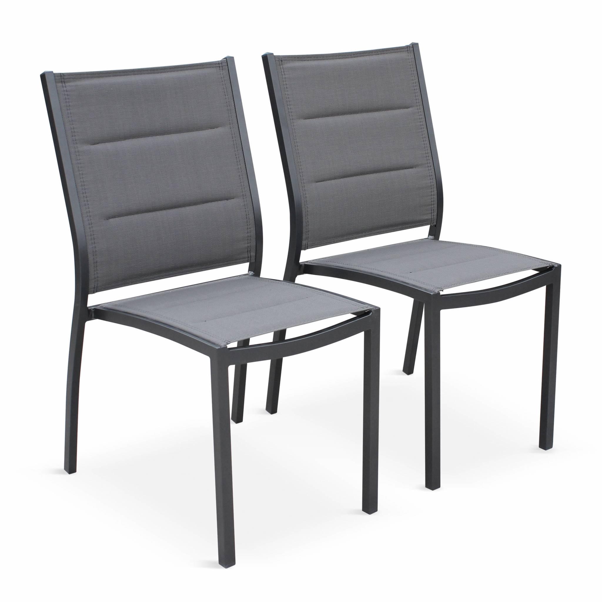 Lot de 2 chaises en aluminium anthracite et textilène gris