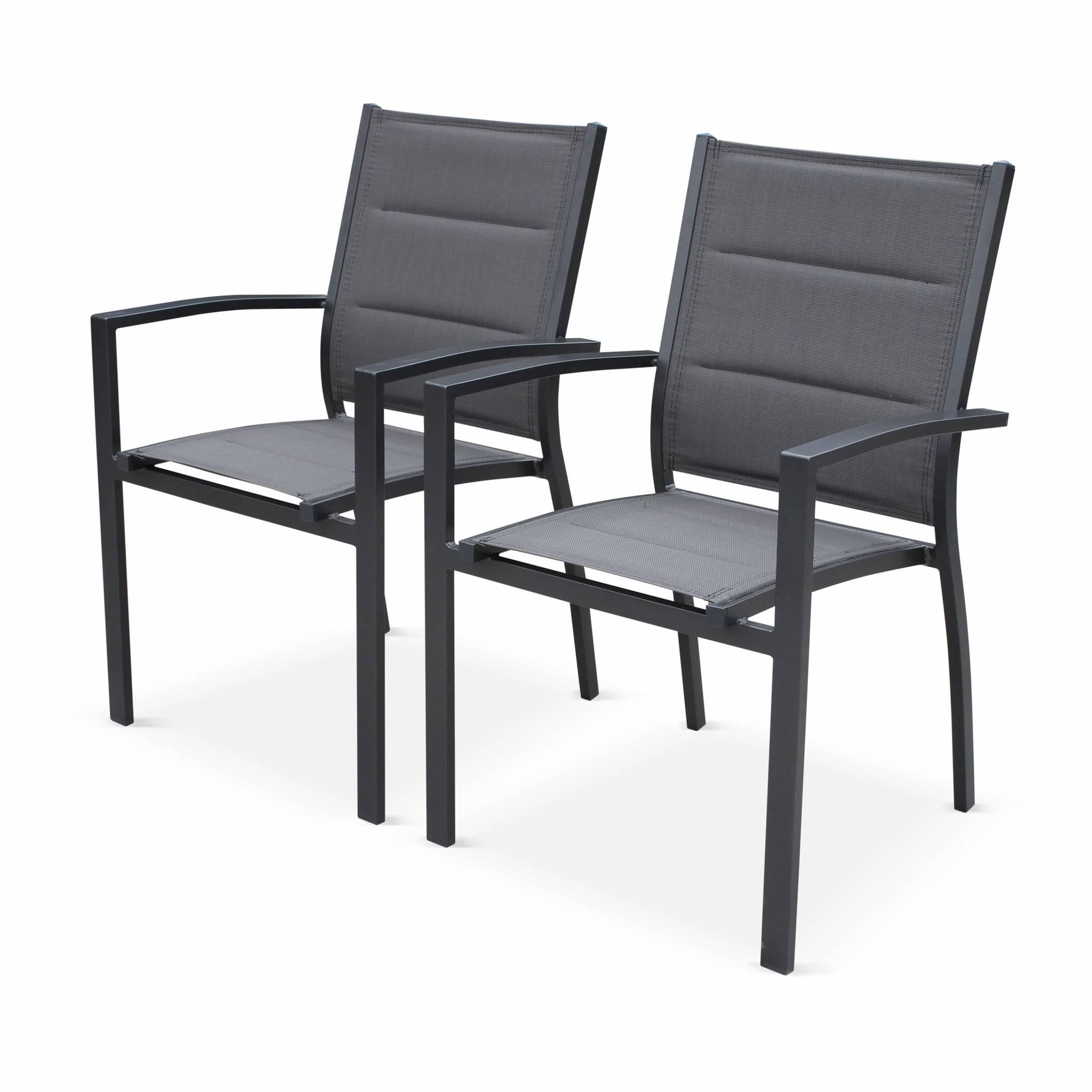 Lot de 2 fauteuils en aluminium anthracite et gris foncé