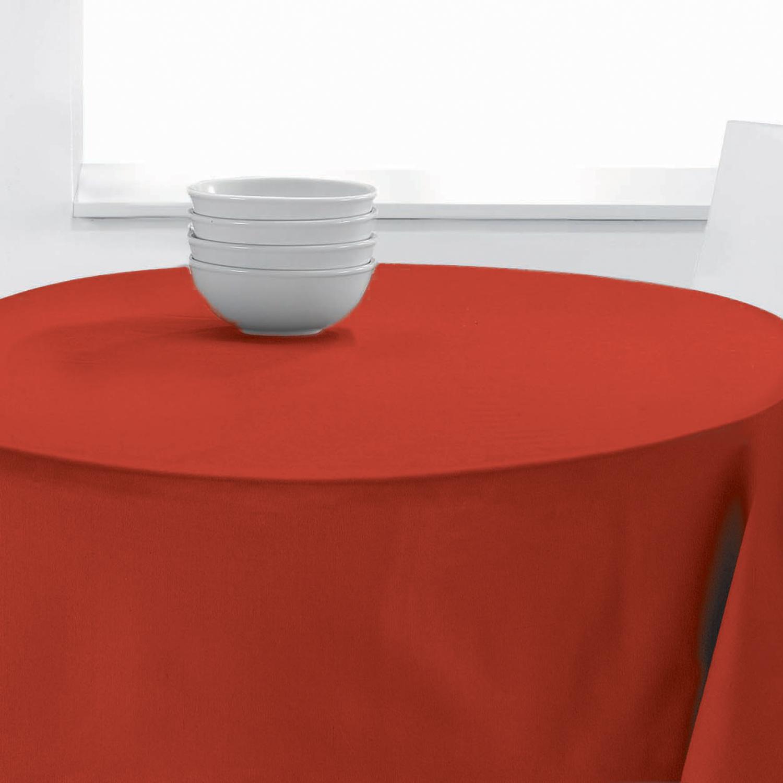 Nappe Ronde Uni en polyester rouge diamètre 140