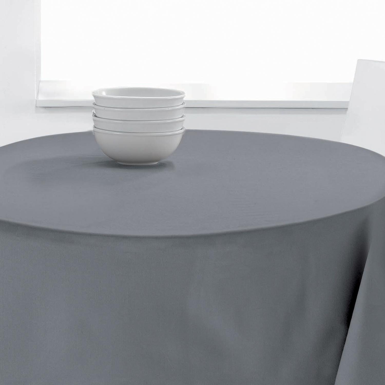 Nappe Ronde Uni en polyester gris diamètre 140