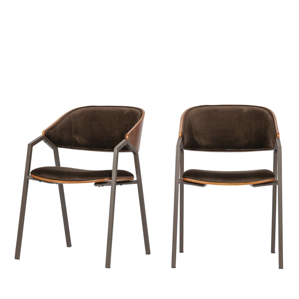 2 Chaises vintage en velours marron