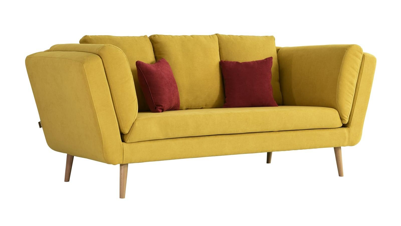 Canapé 3 places style scandinave en tissu jaune
