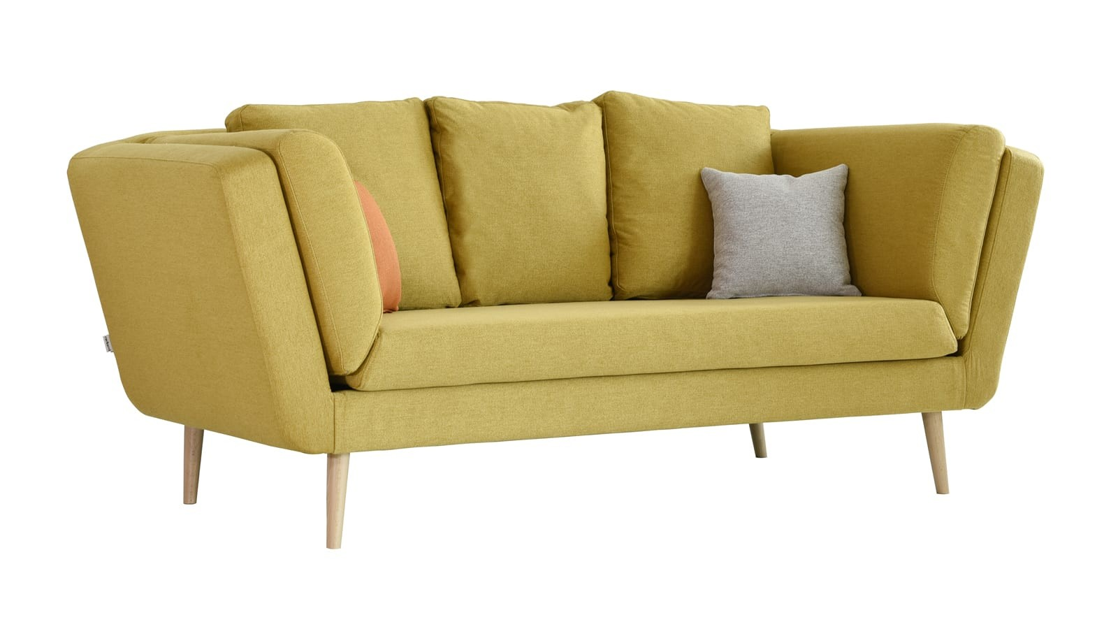Canapé 3 places style scandinave en tissu maille jaune