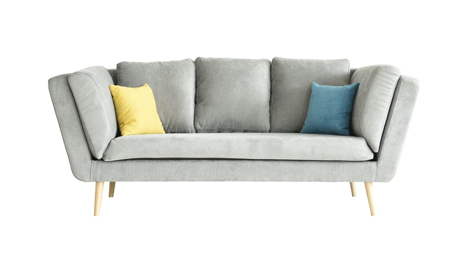 Canapé 3 places style scandinave en tissu gris