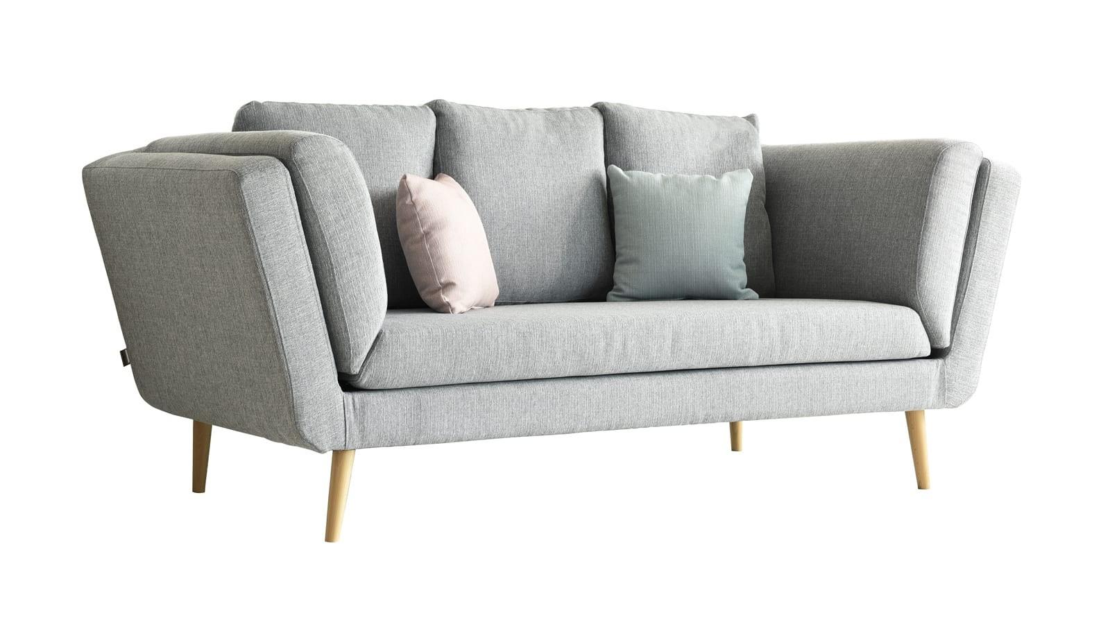 Canapé 3 places style scandinave en tissu maille gris