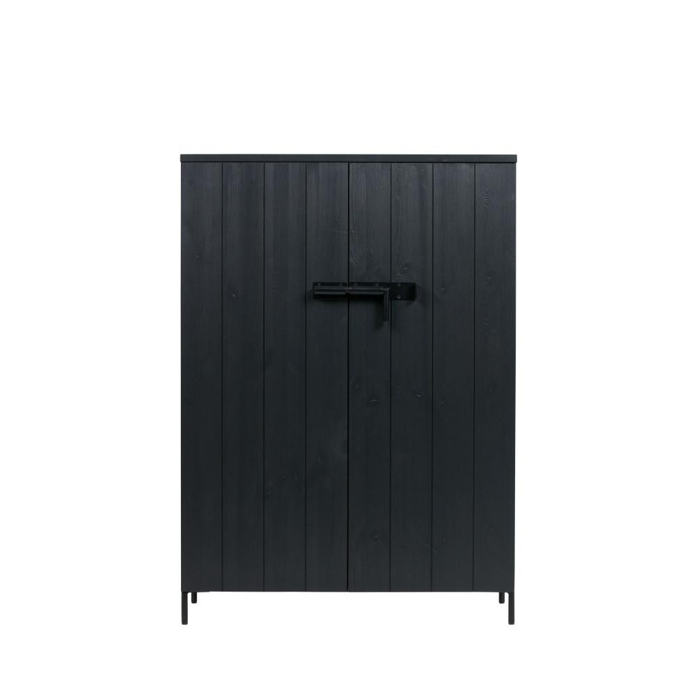 Armoire 2 portes en pin brossé noir