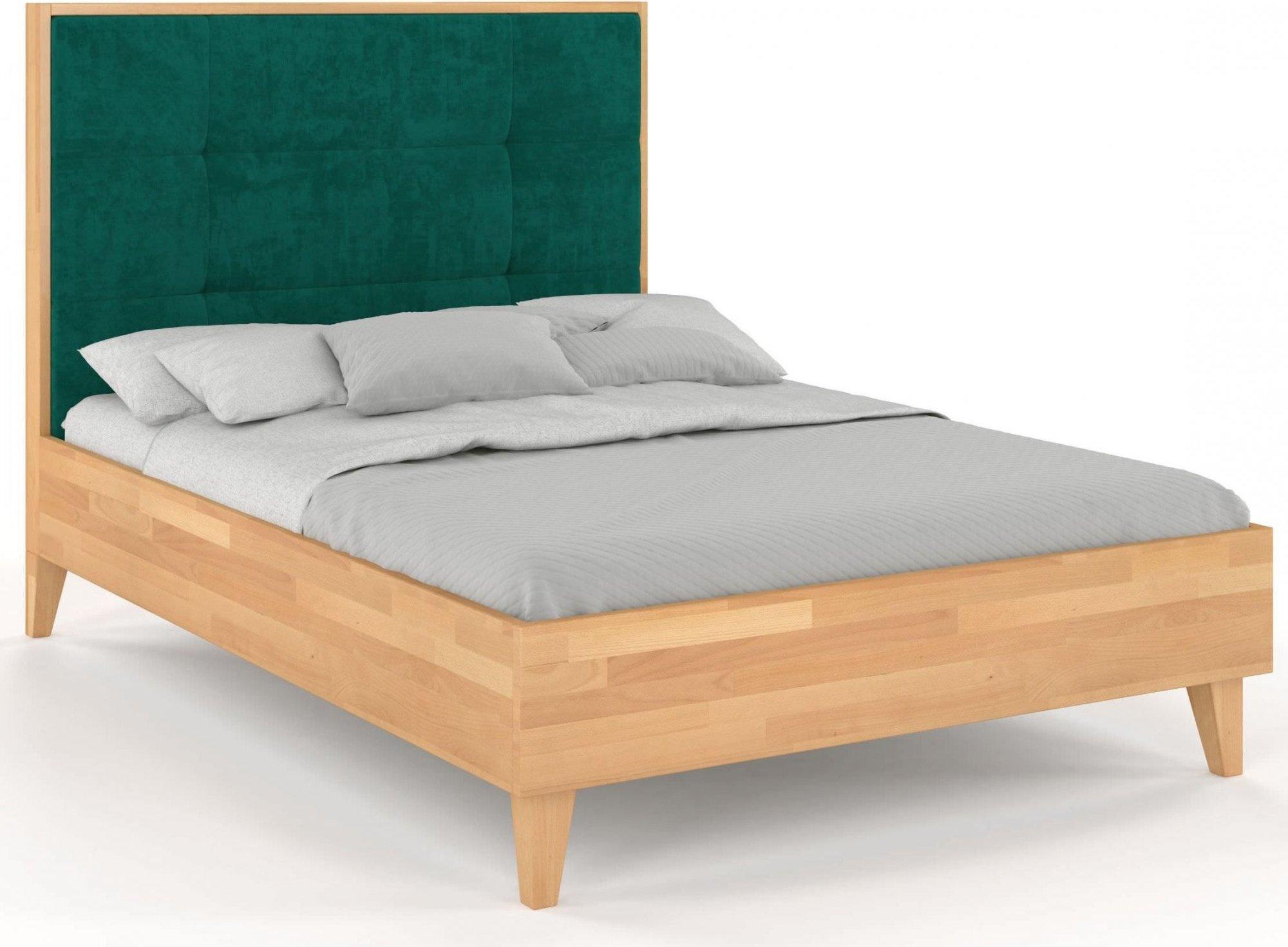 Lit avec tête de lit sommier hêtre massif vert 200x200cm
