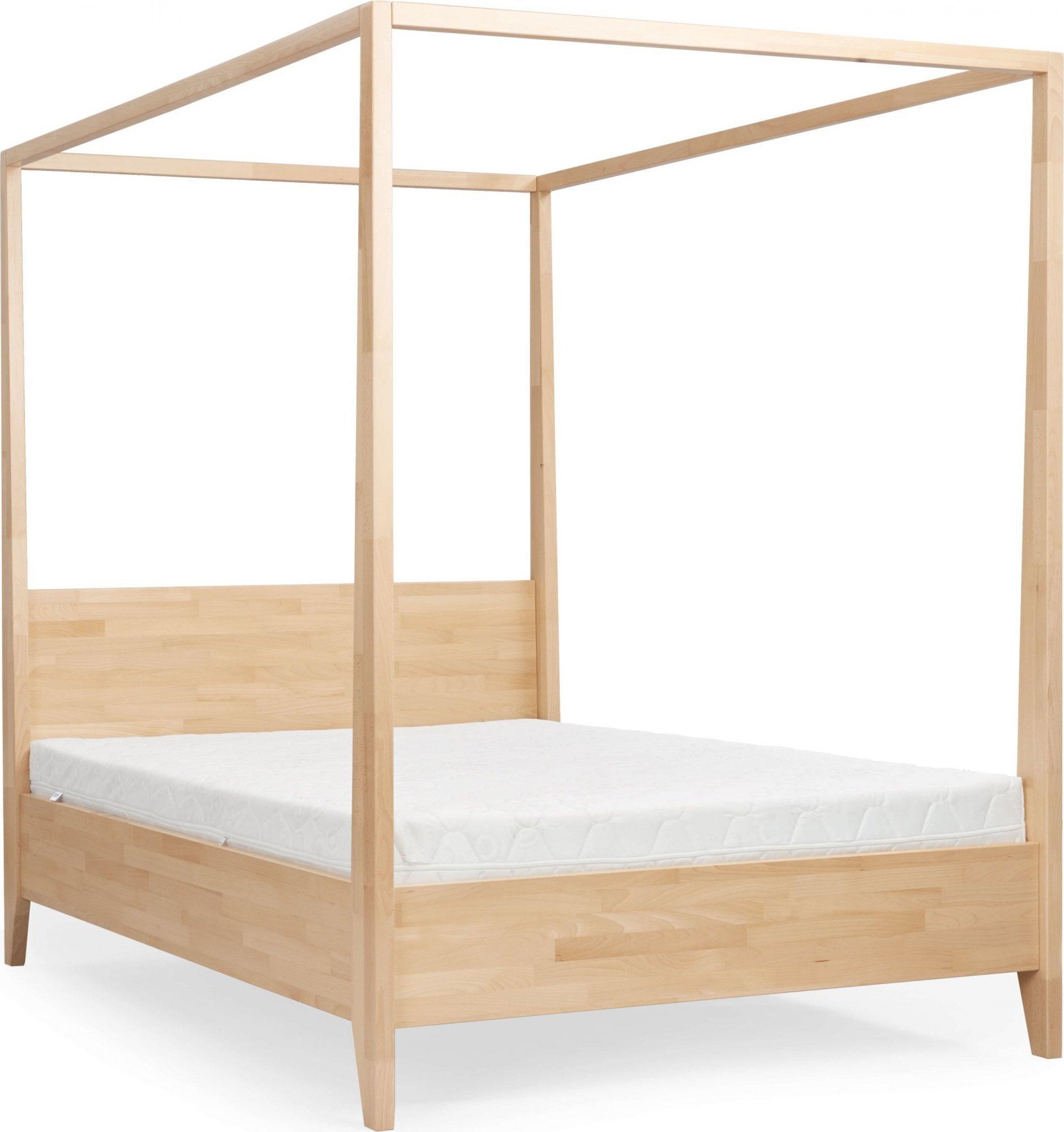 Lit baldaquin tête de lit et sommier hêtre massif 200x200cm