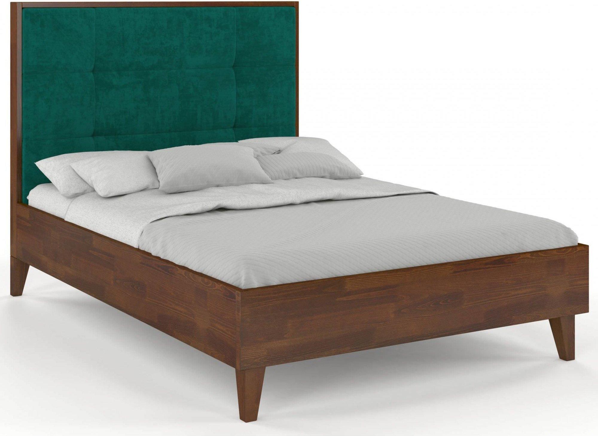 Lit avec tête de lit sommier noyer massif vert 160x200cm