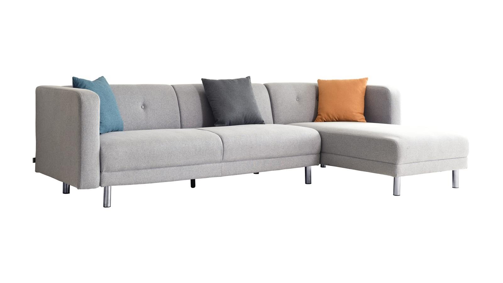 Canapé d'angle convertible 5 places en tissu gris clair