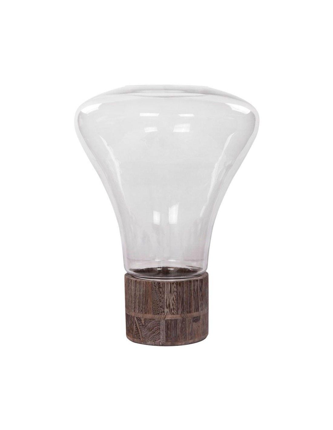 Lanterne verre et bois clair H38