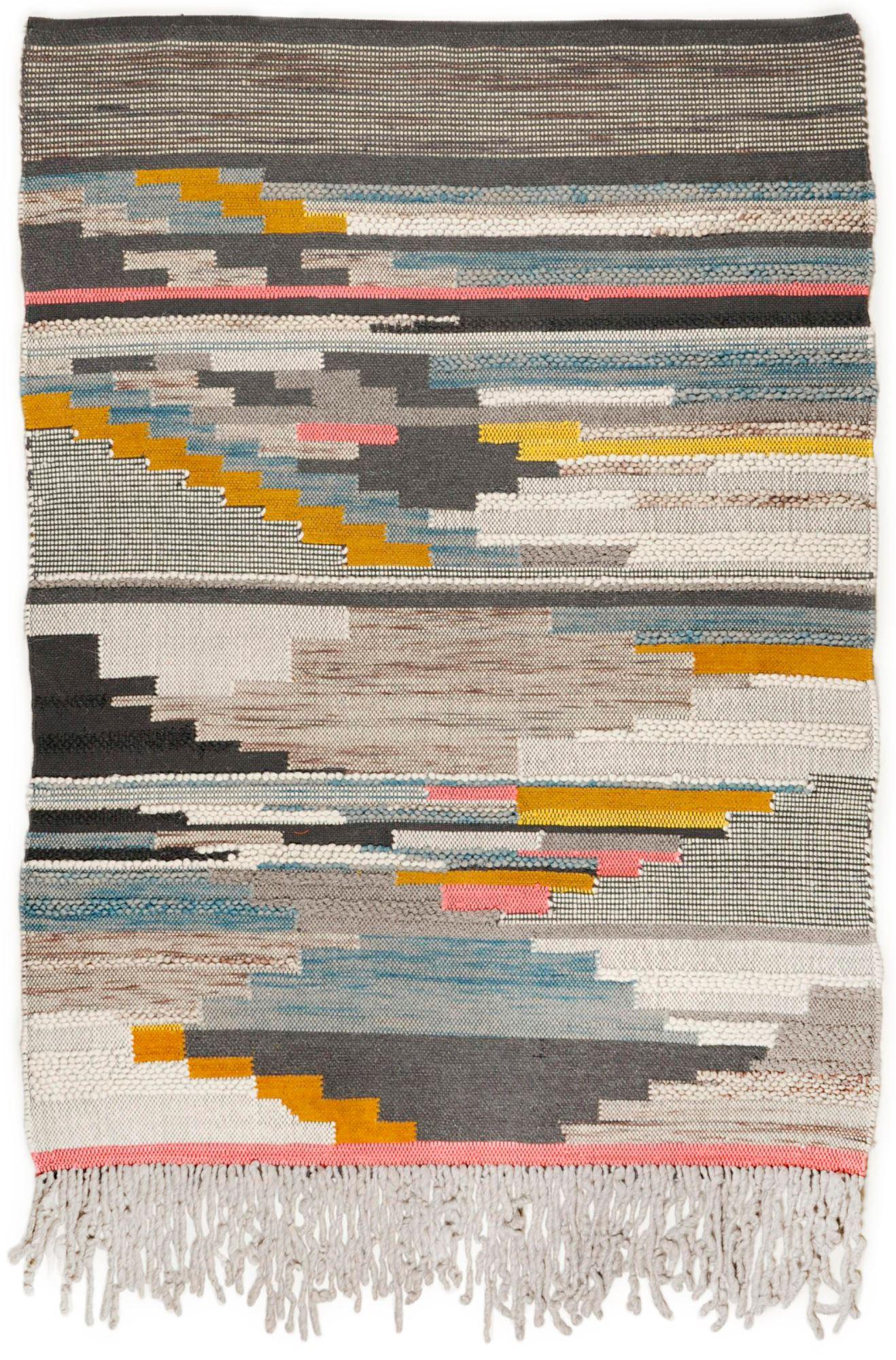 Tapis structure en laine fait à la main multicolore 190x290