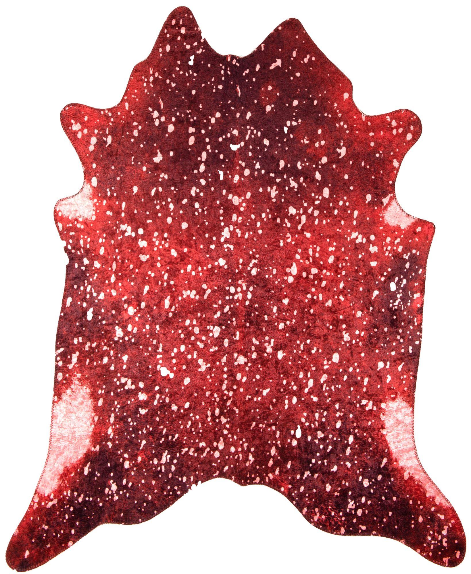 Tapis en peau de vache artificielle coloré rouge 150x190
