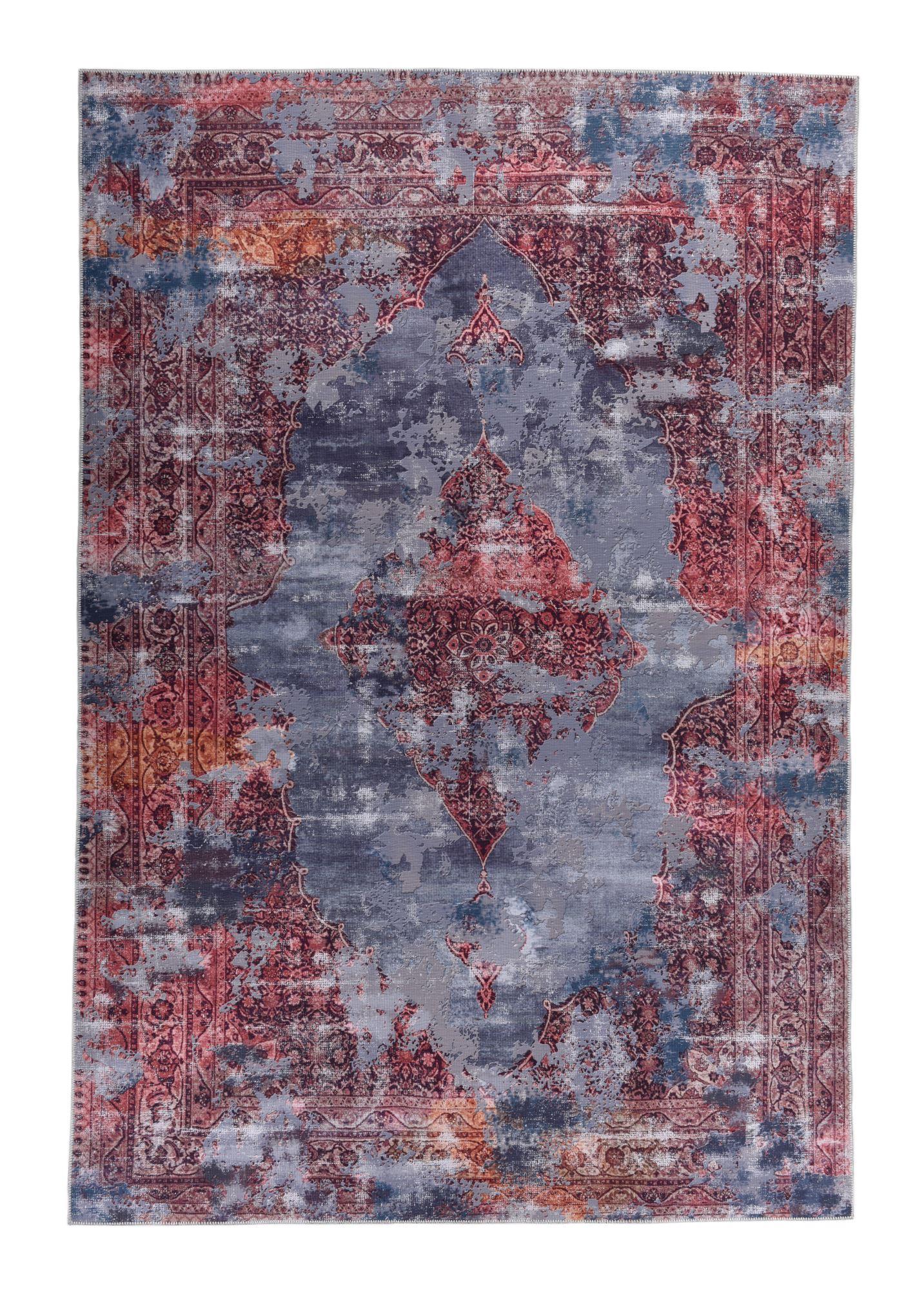 Tapis imprimé en motif vintage rouge 140x200
