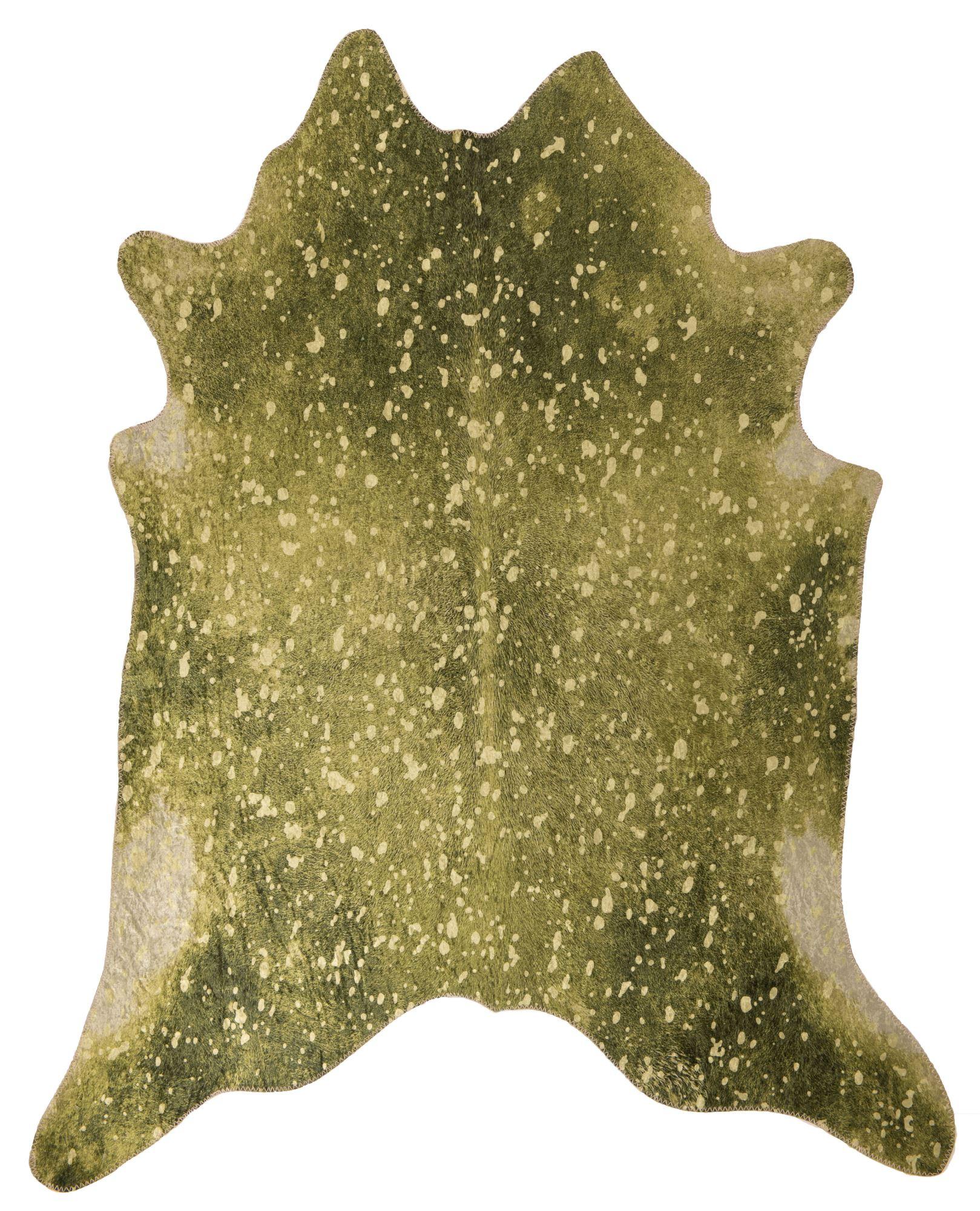 Tapis en peau de vache artificielle coloré vert 150x190
