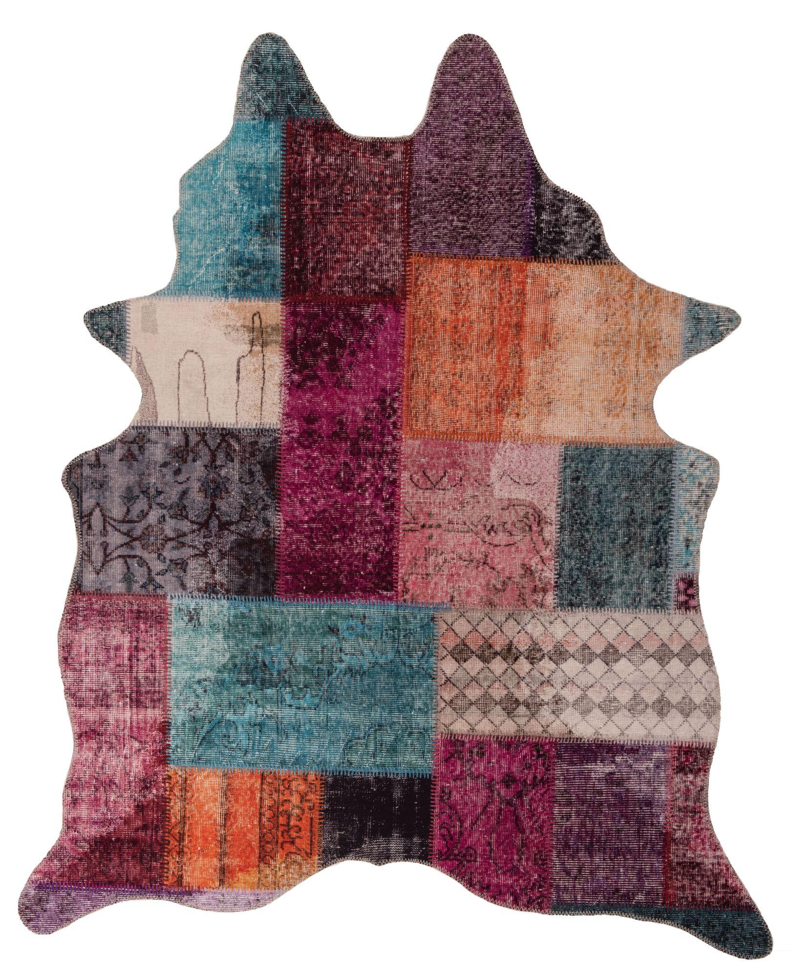 Tapis en peau de vache artificielle patchwork multicolore 150x190