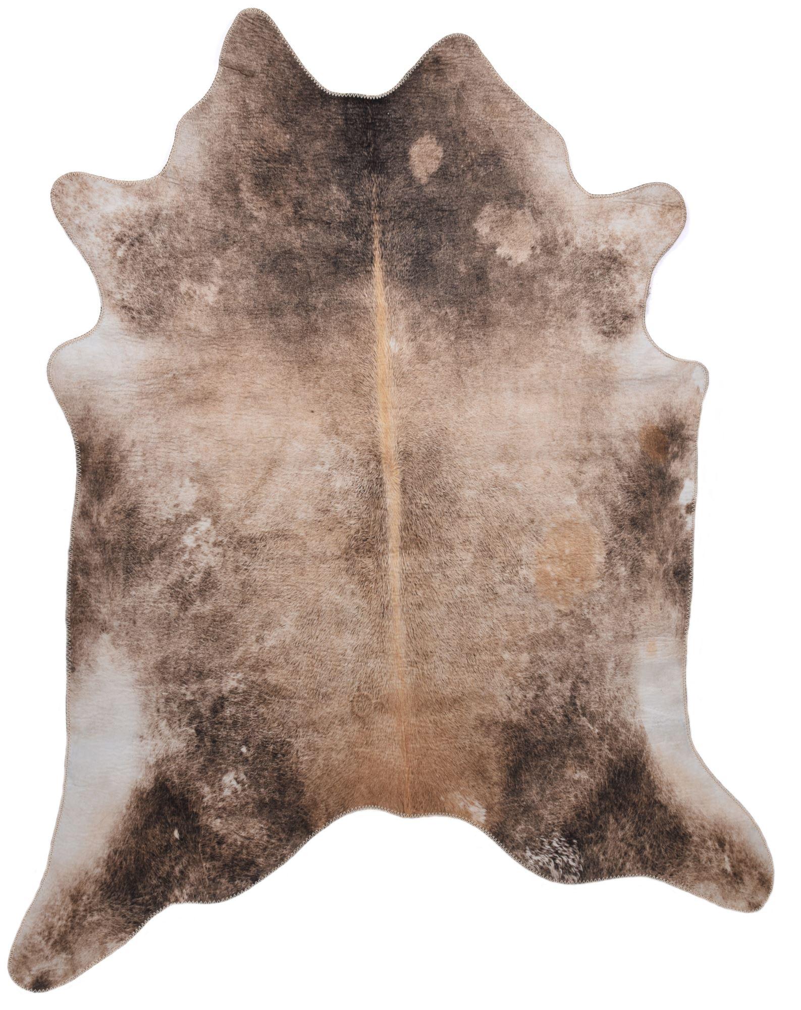 Tapis en peau de vache artificielle marron 150x190