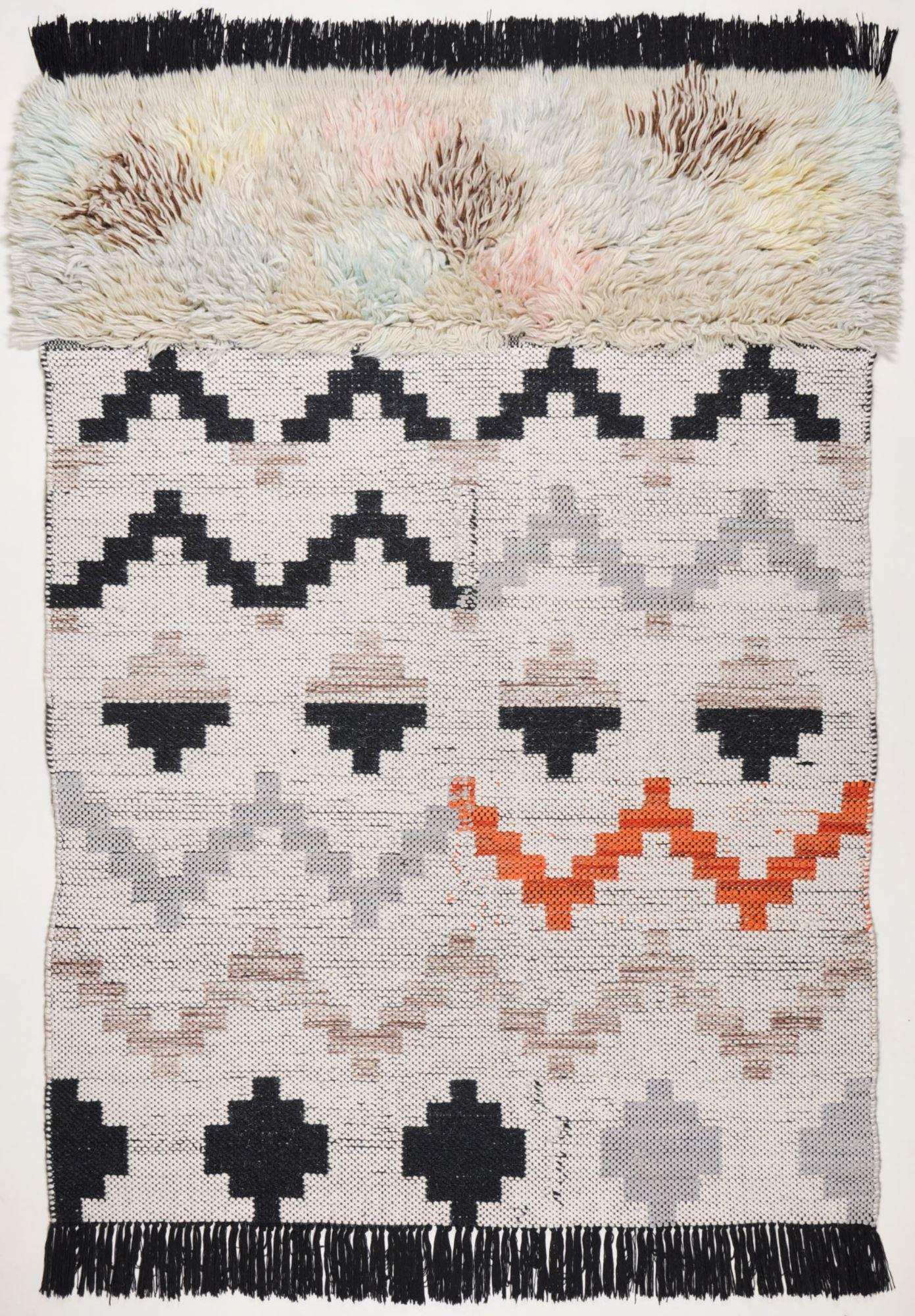 Tapis structure en laine fait à la main multicolore 70x140