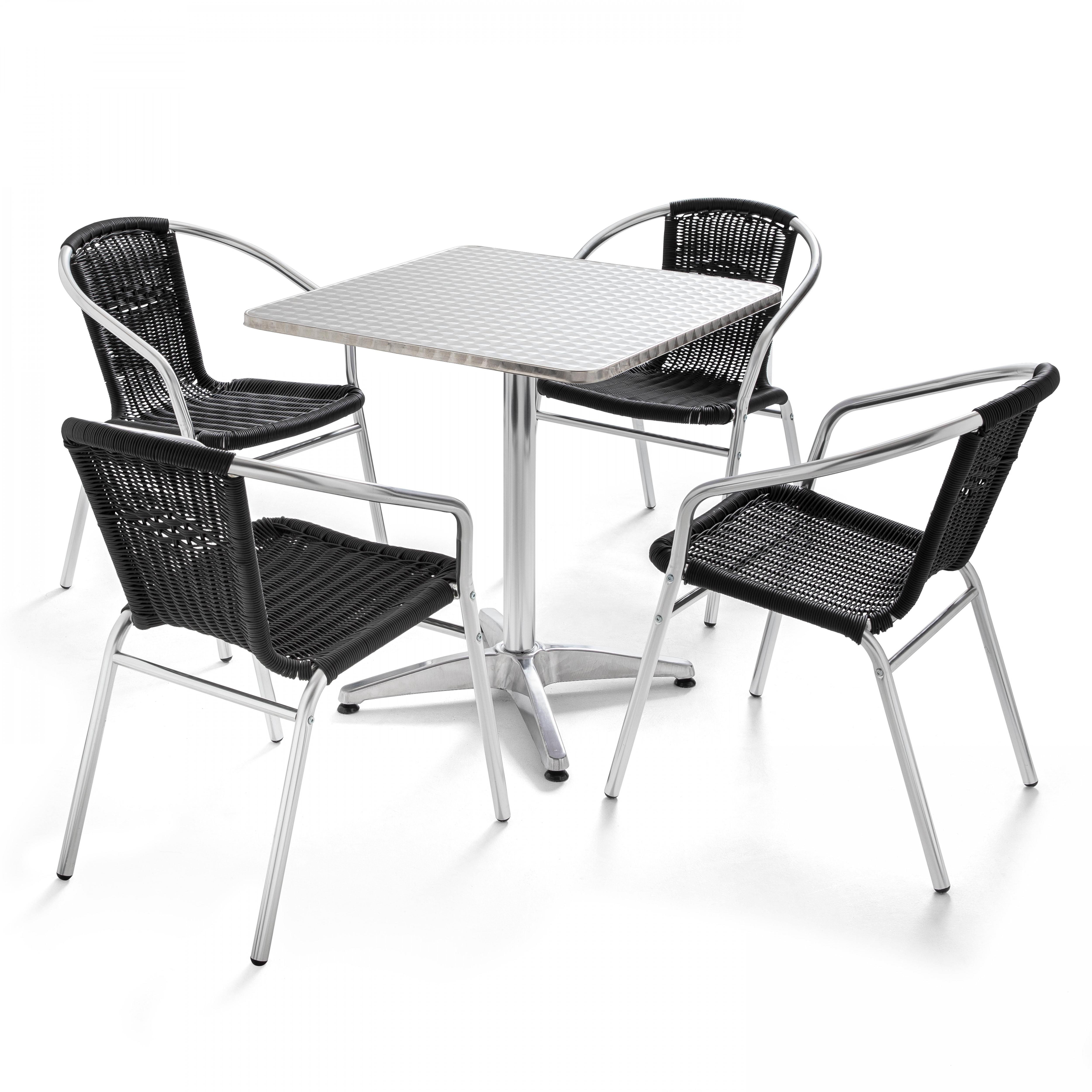 Table de jardin en alu et 4 fauteuils en résine tressée noir
