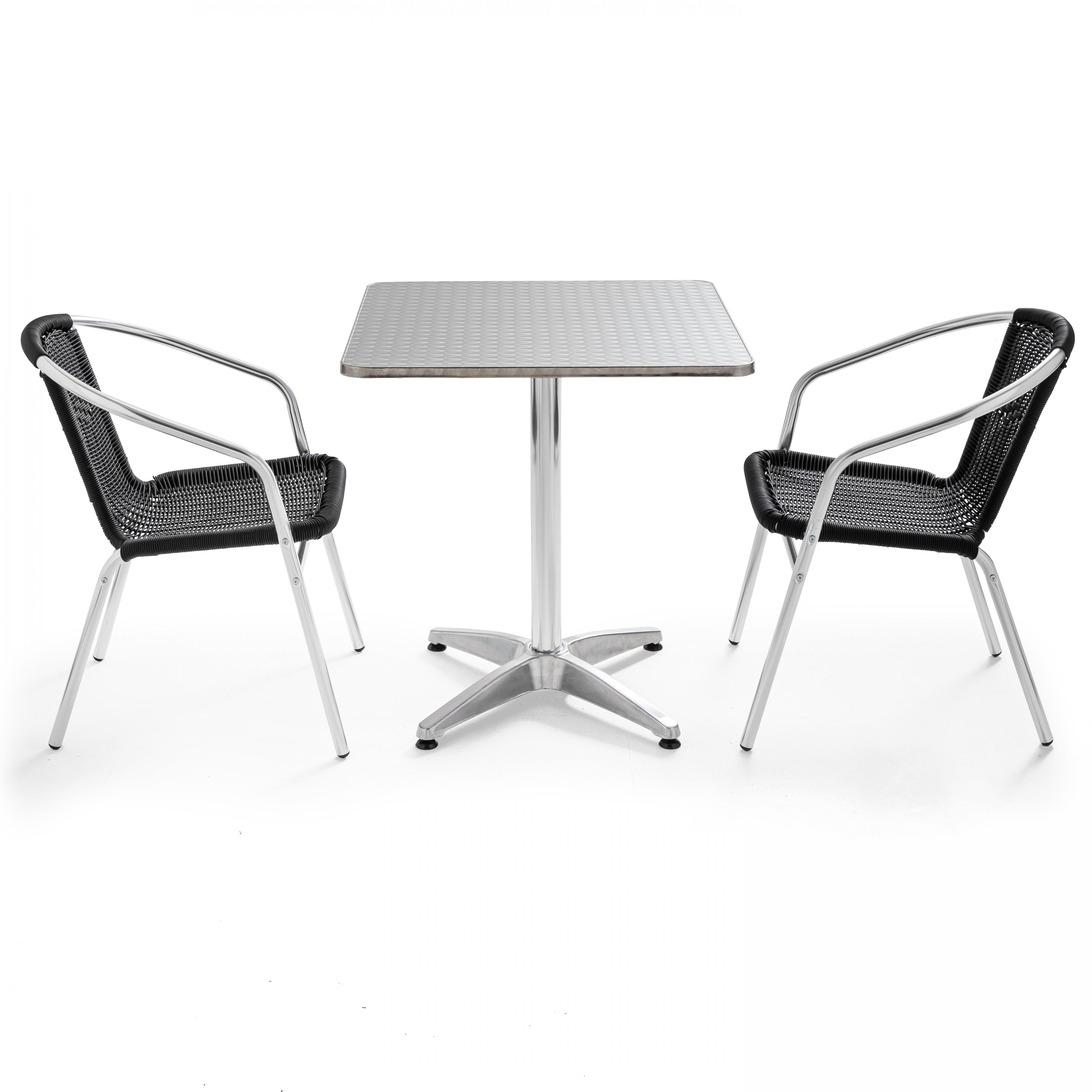 Table de jardin en alu et 2 fauteuils en résine tressée noir