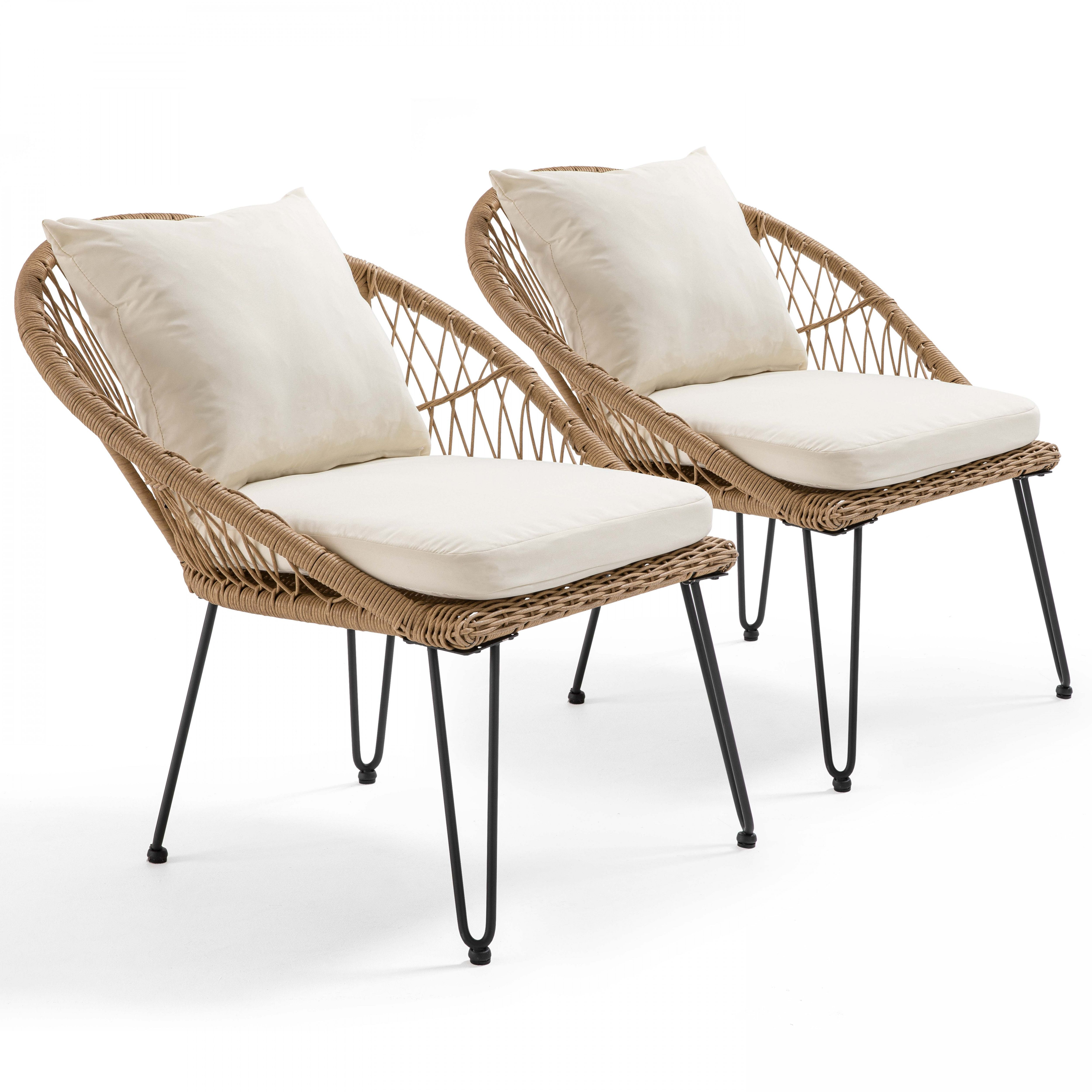 Lot de 2 fauteuils rotin synthétique naturel