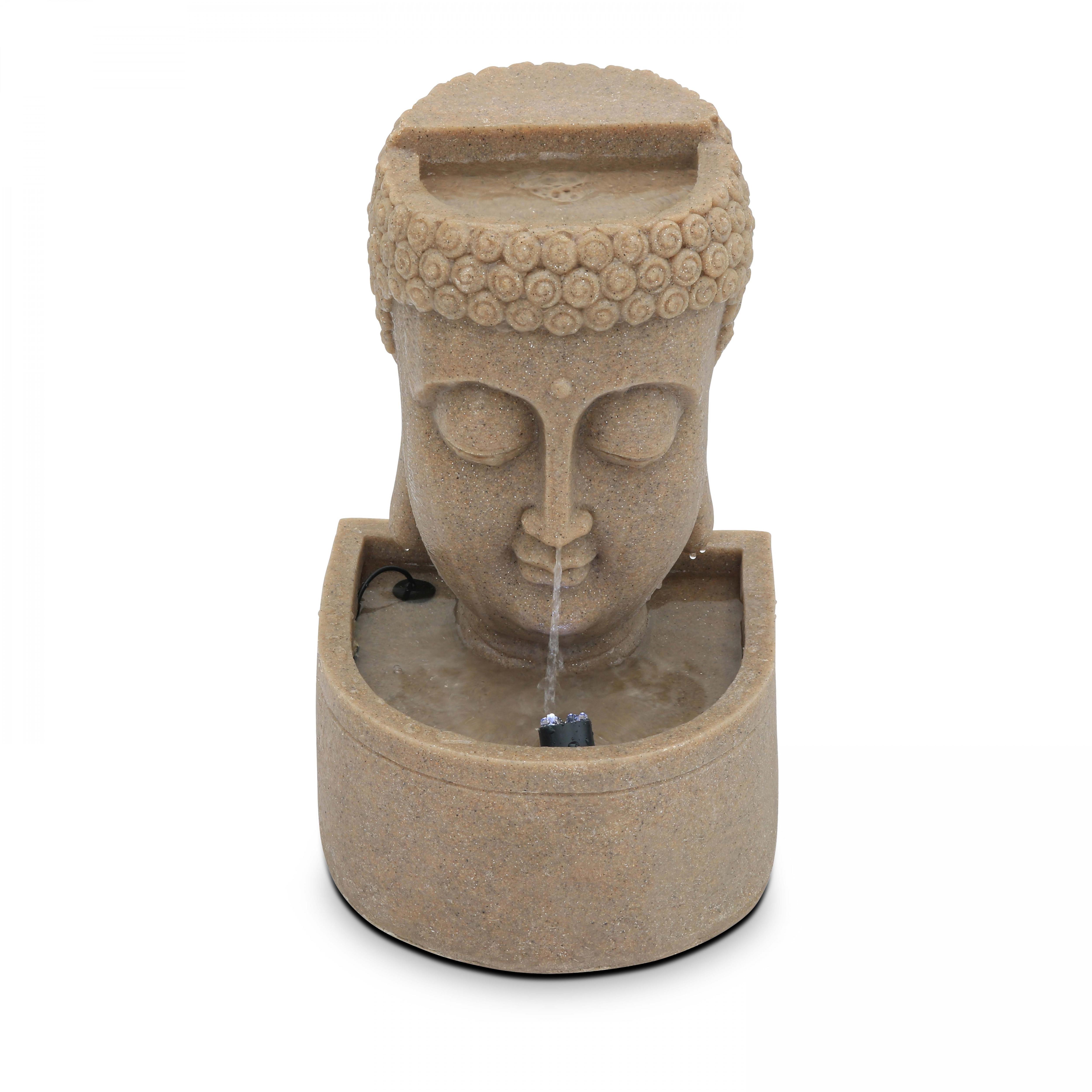 Fontaine bouddha pierre reconstituée LED beige
