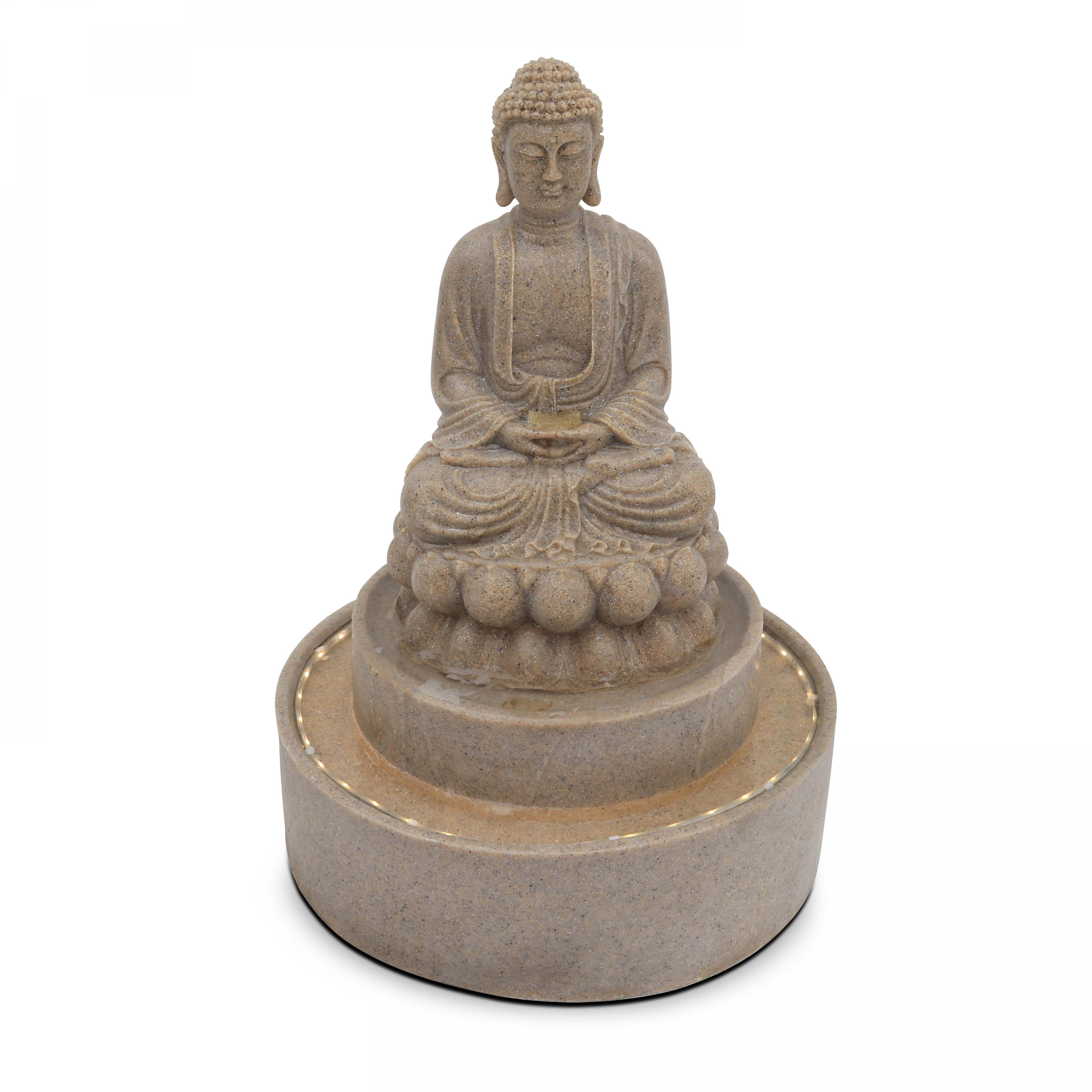 Fontaine Bouddha pierre reconstituée avec LED gris