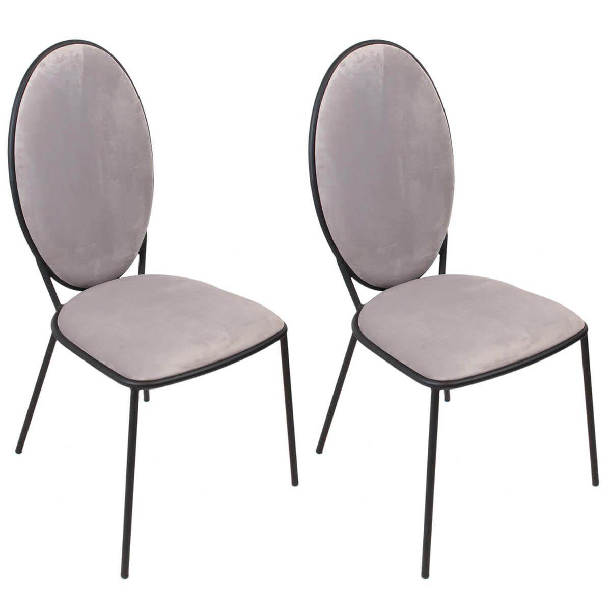 Lot de 2 chaises effet velours gris clair