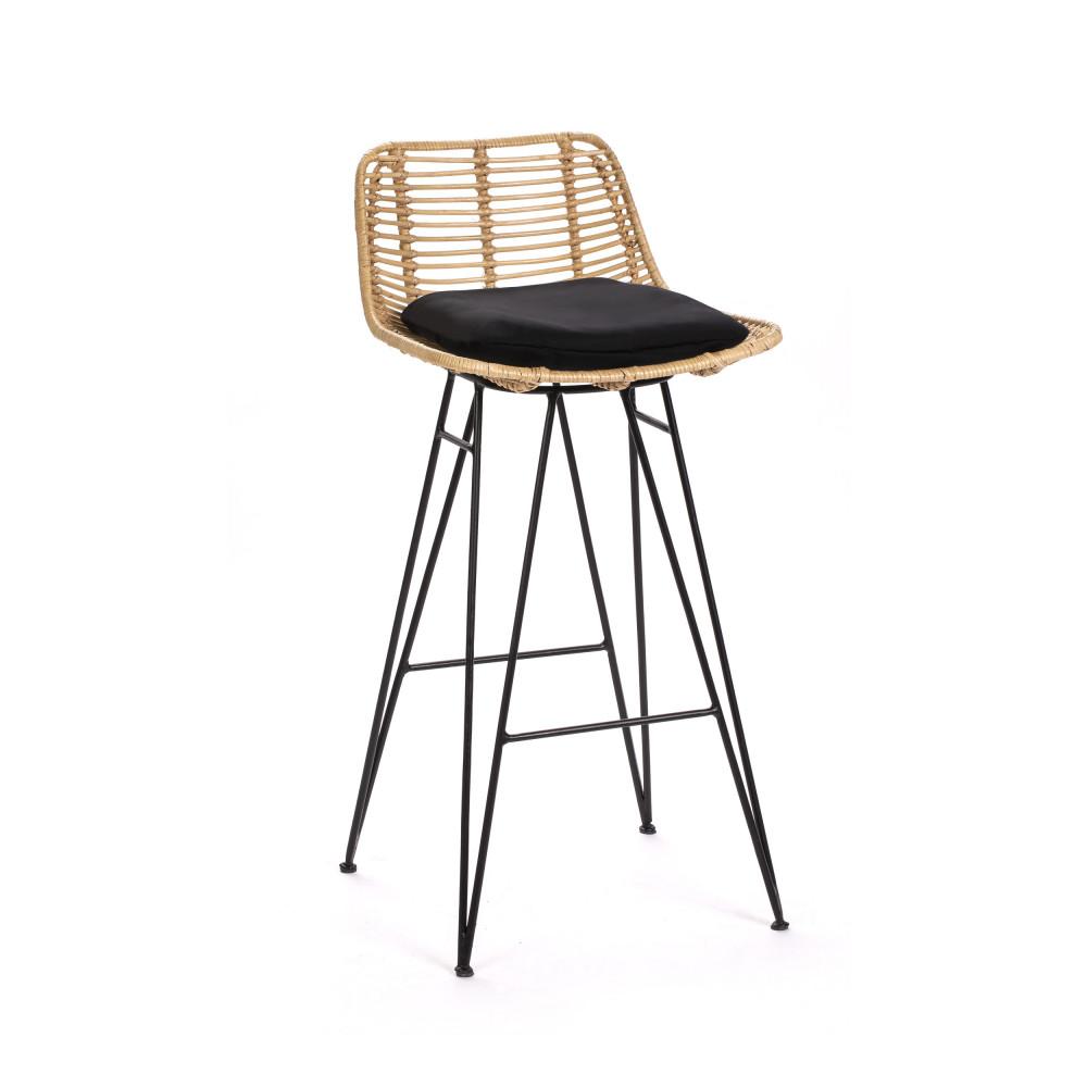 Chaise de bar design en rotin 67cm