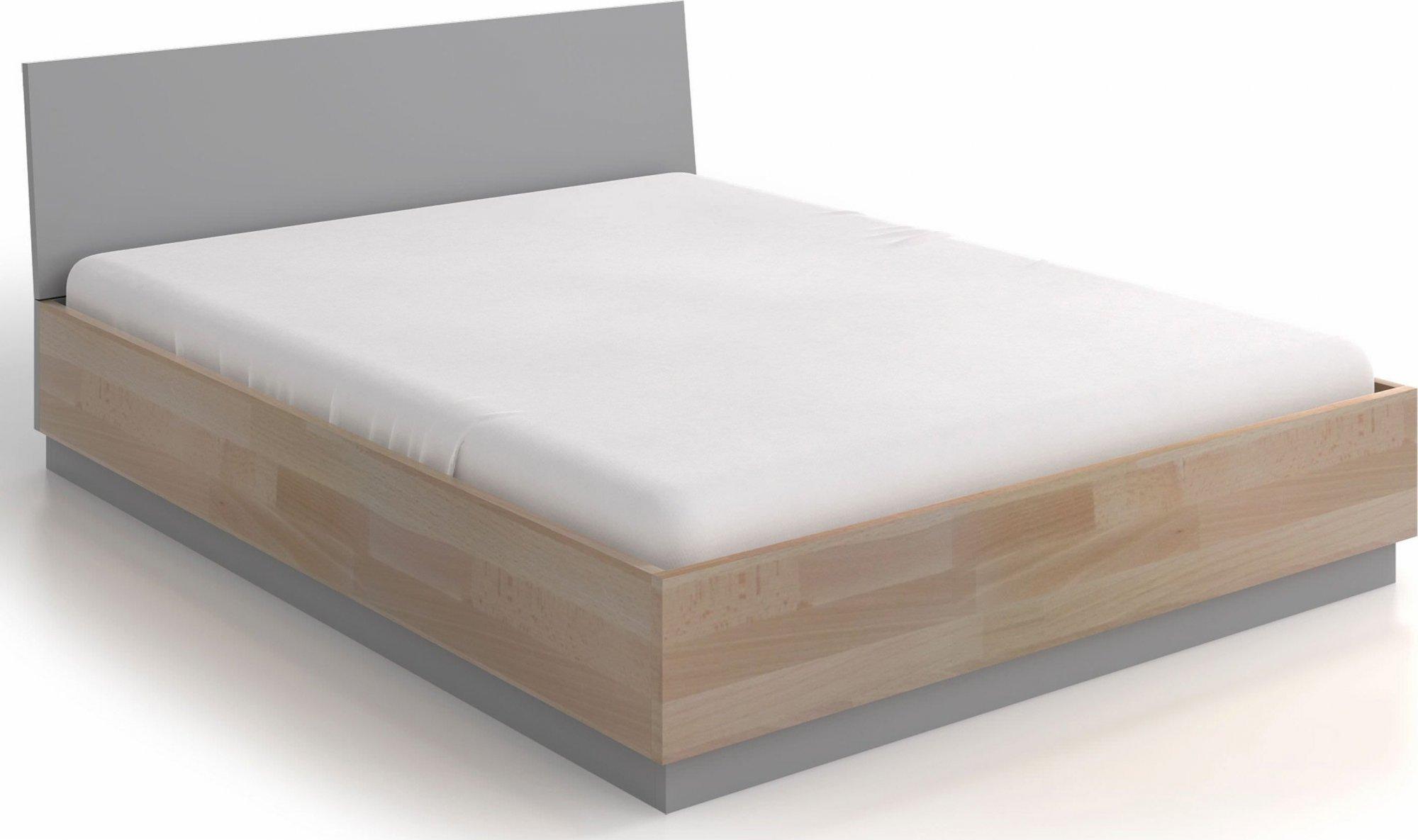 Lit avec tête de lit et sommier bois massif clair 160x200cm