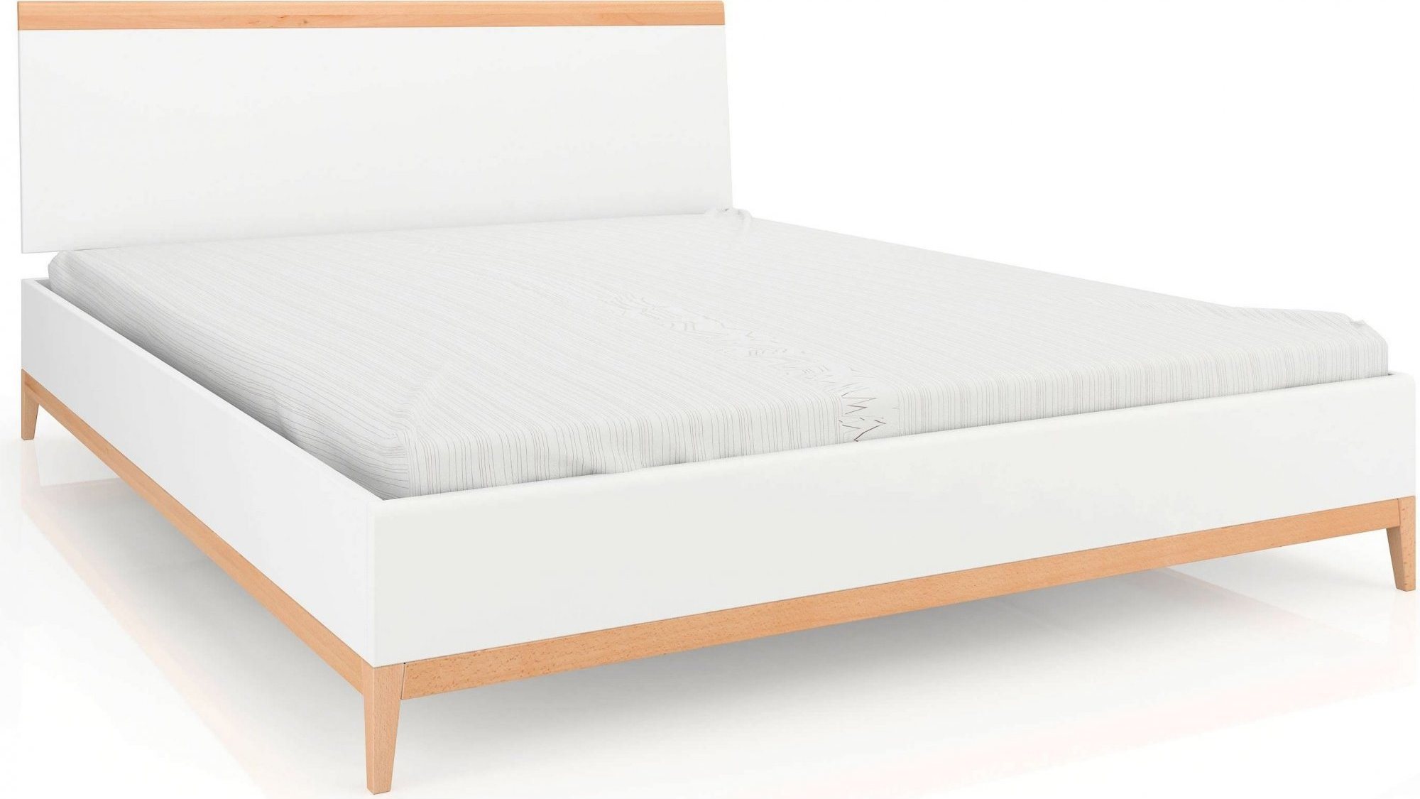 Lit avec tête de lit sommier massif clair blanc 160x200cm