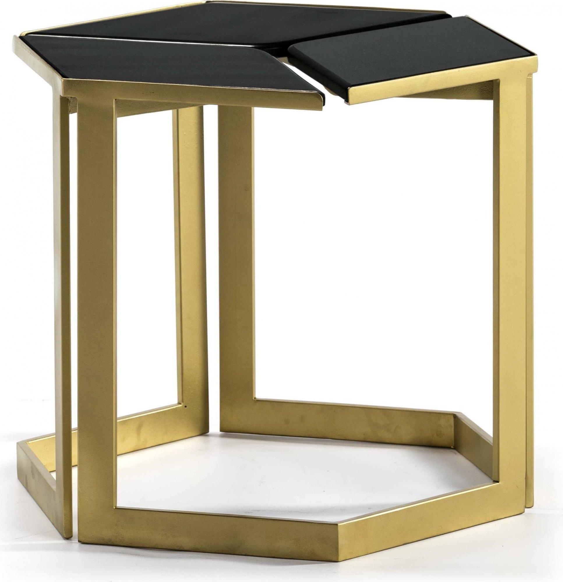 Table d'appoint plateau noir srtucture dorée l58cm