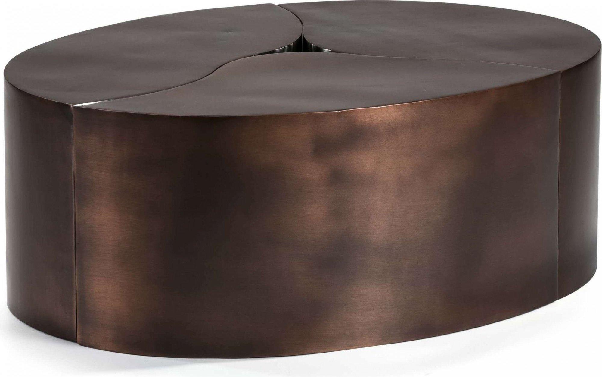 Table basse design ovale acier rouillé l103 l76cm