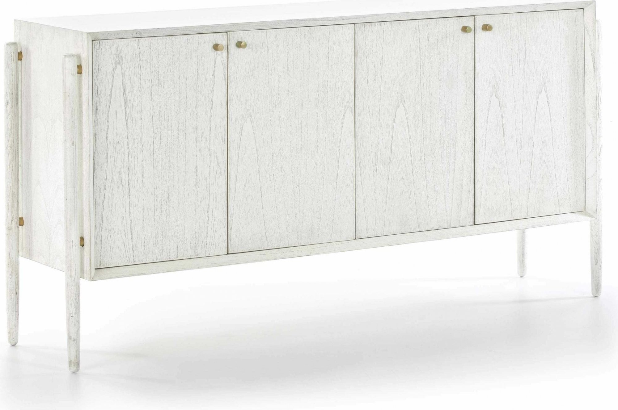 Commode en bois design 4 portes cérusé blanc