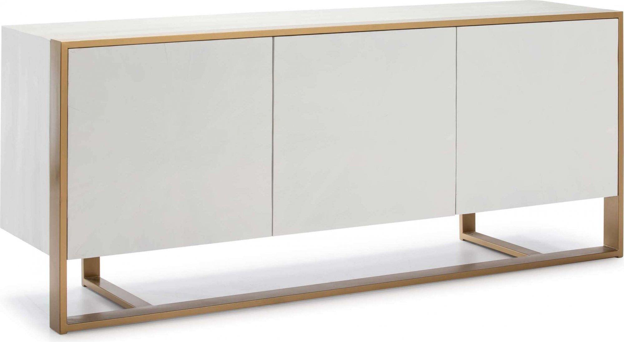 Commode design en bois 3 portes bois blanc pieds dorés