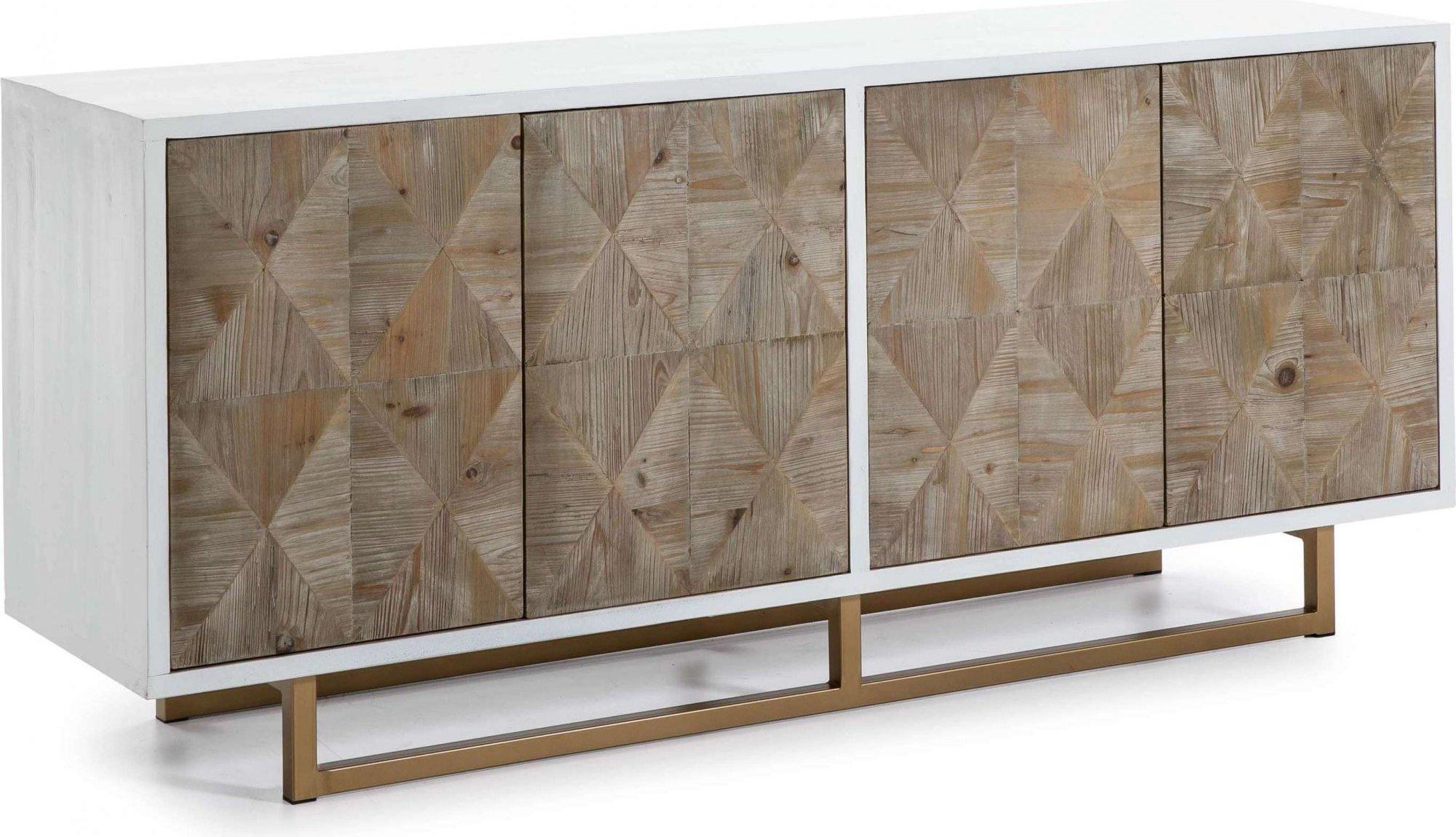 Commode desig en bois 4 portes couleur bois et blanc