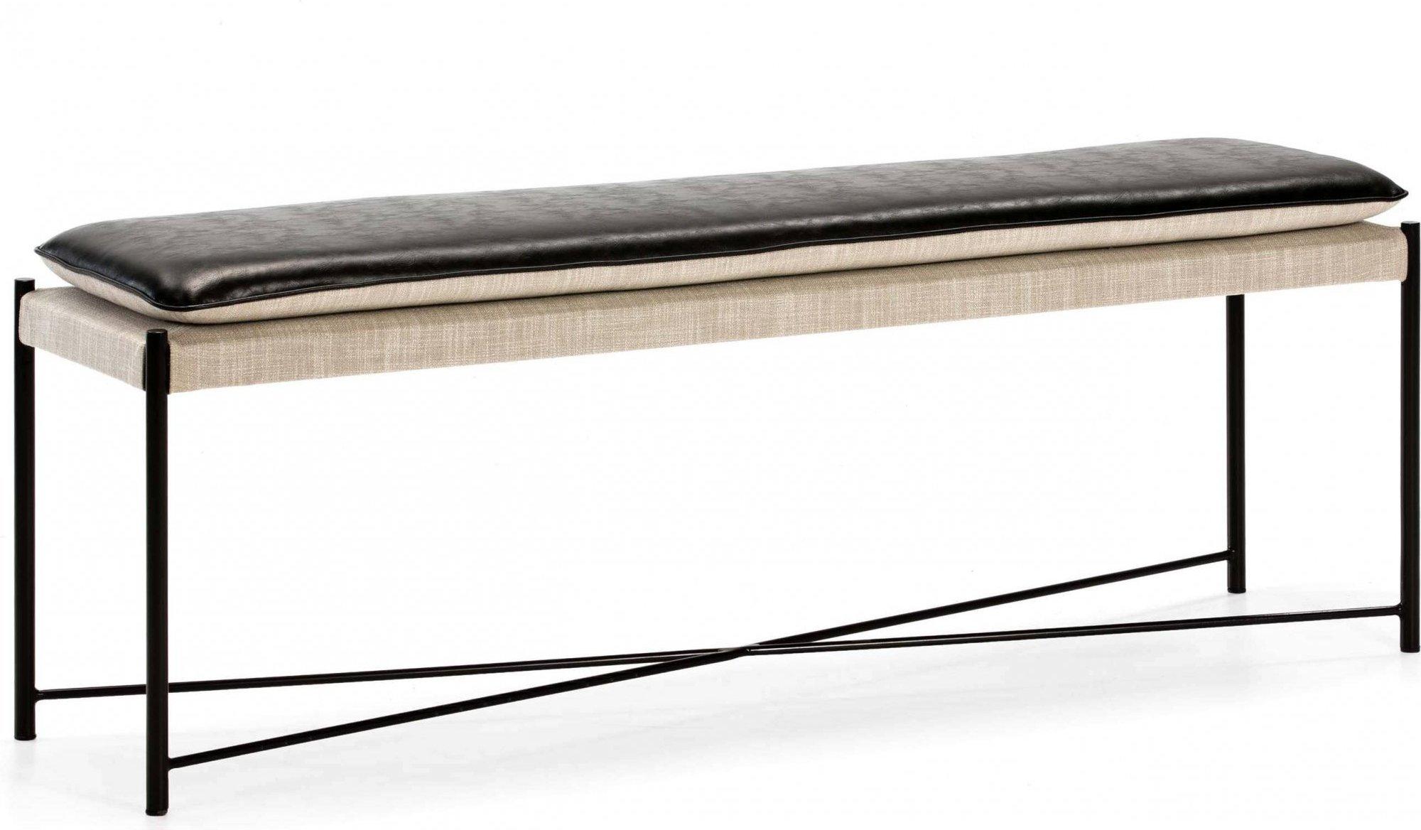 Banc métal noir coussin noir et beige l132cm