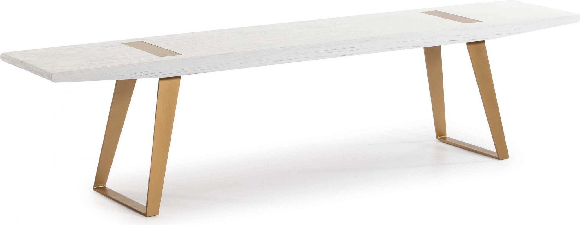Banc pieds métal doré assise bois blanc l190cm