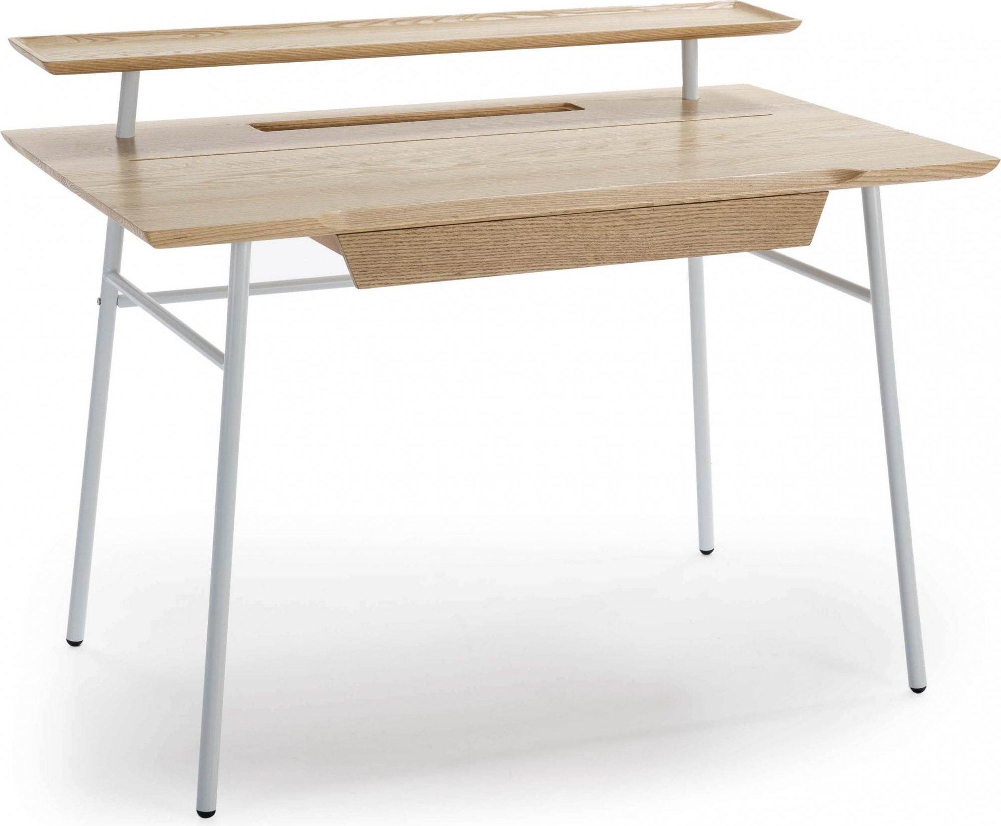 maison du monde Bureau tradition en bois 1 tiroir blanc et bois clair