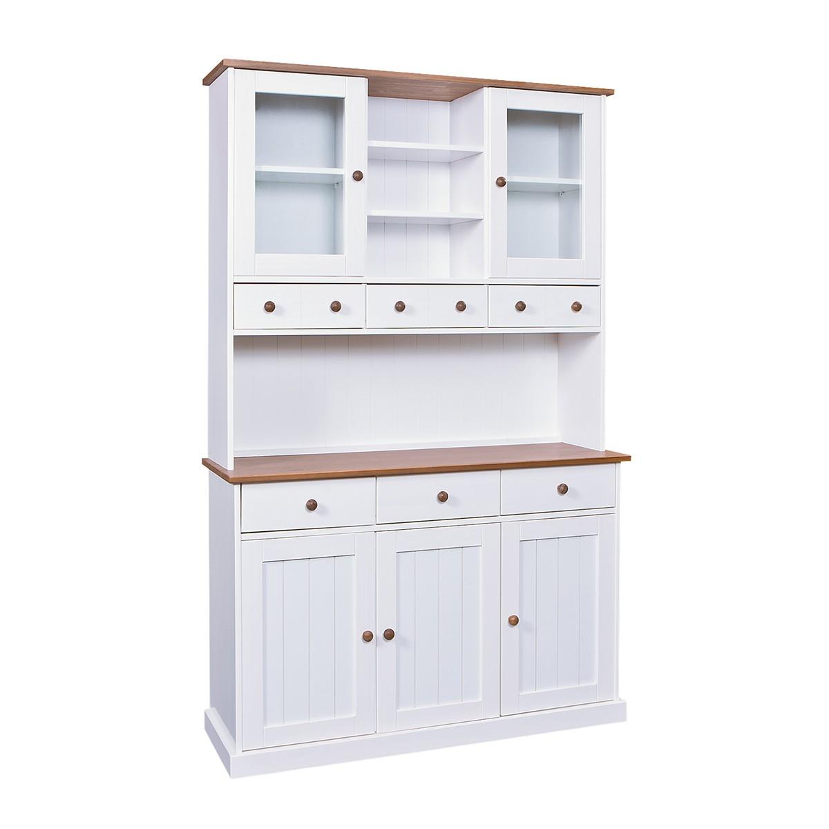 SOCOA - Vaisselier 5 portes 6 tiroirs en pin massif blanc