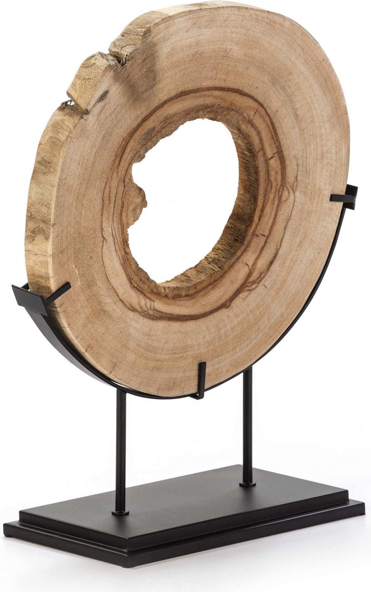 Sculpture en bois clair et métal noir