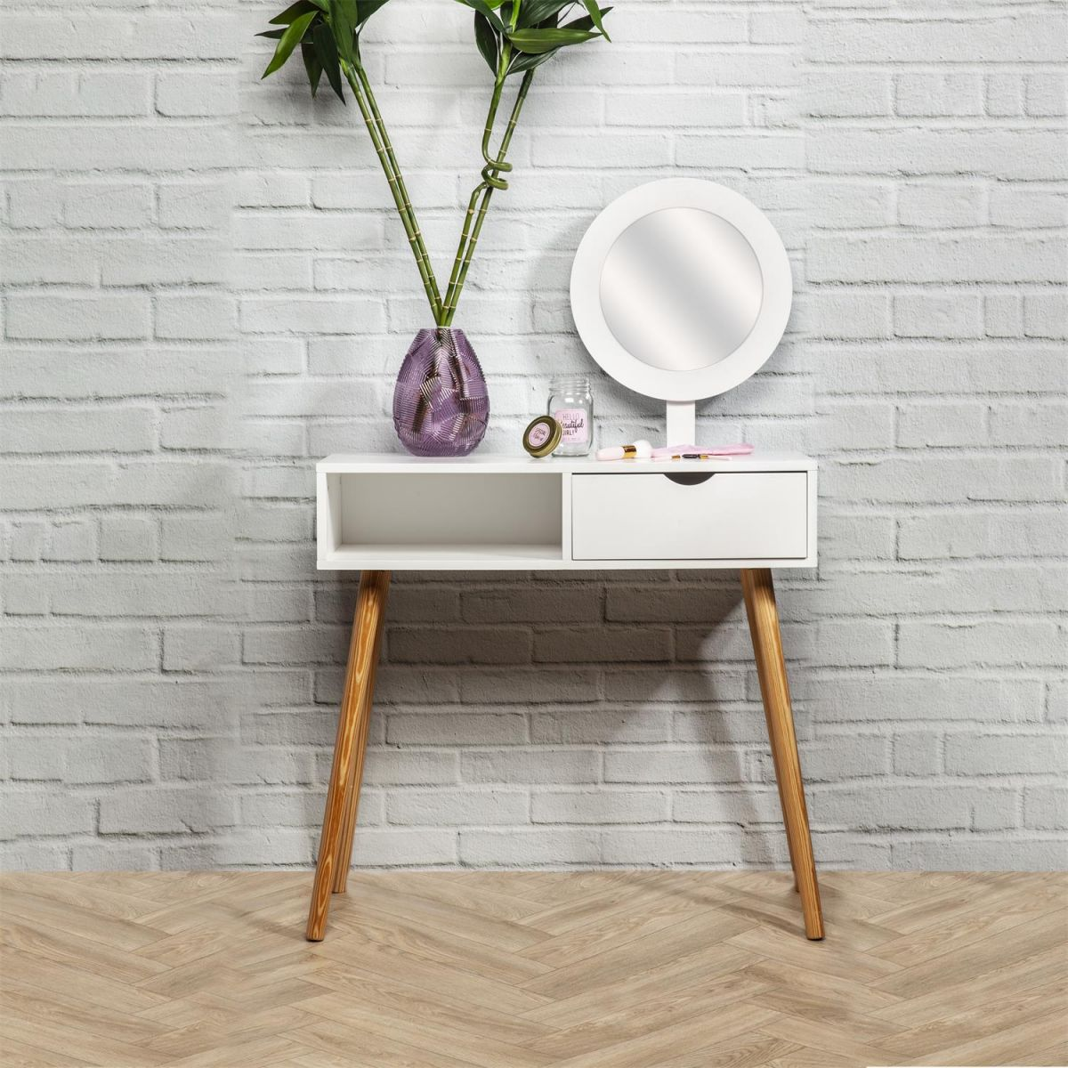 Coiffeuse Blanche avec Miroir Intégré