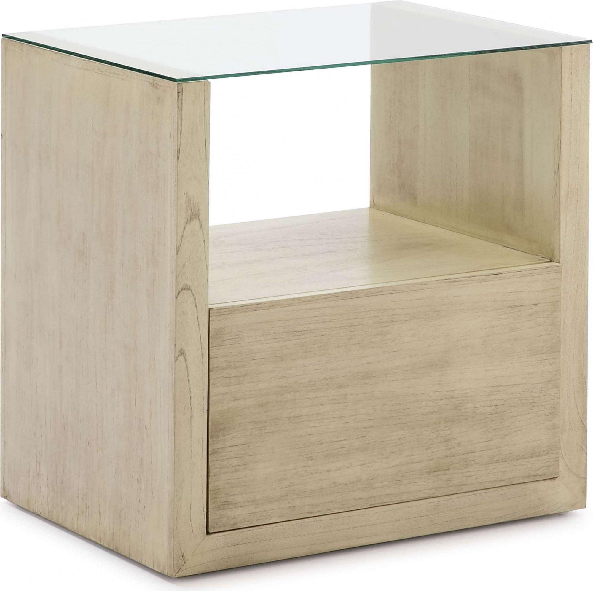 Table de chevet en bois naturel clair plateau en verre