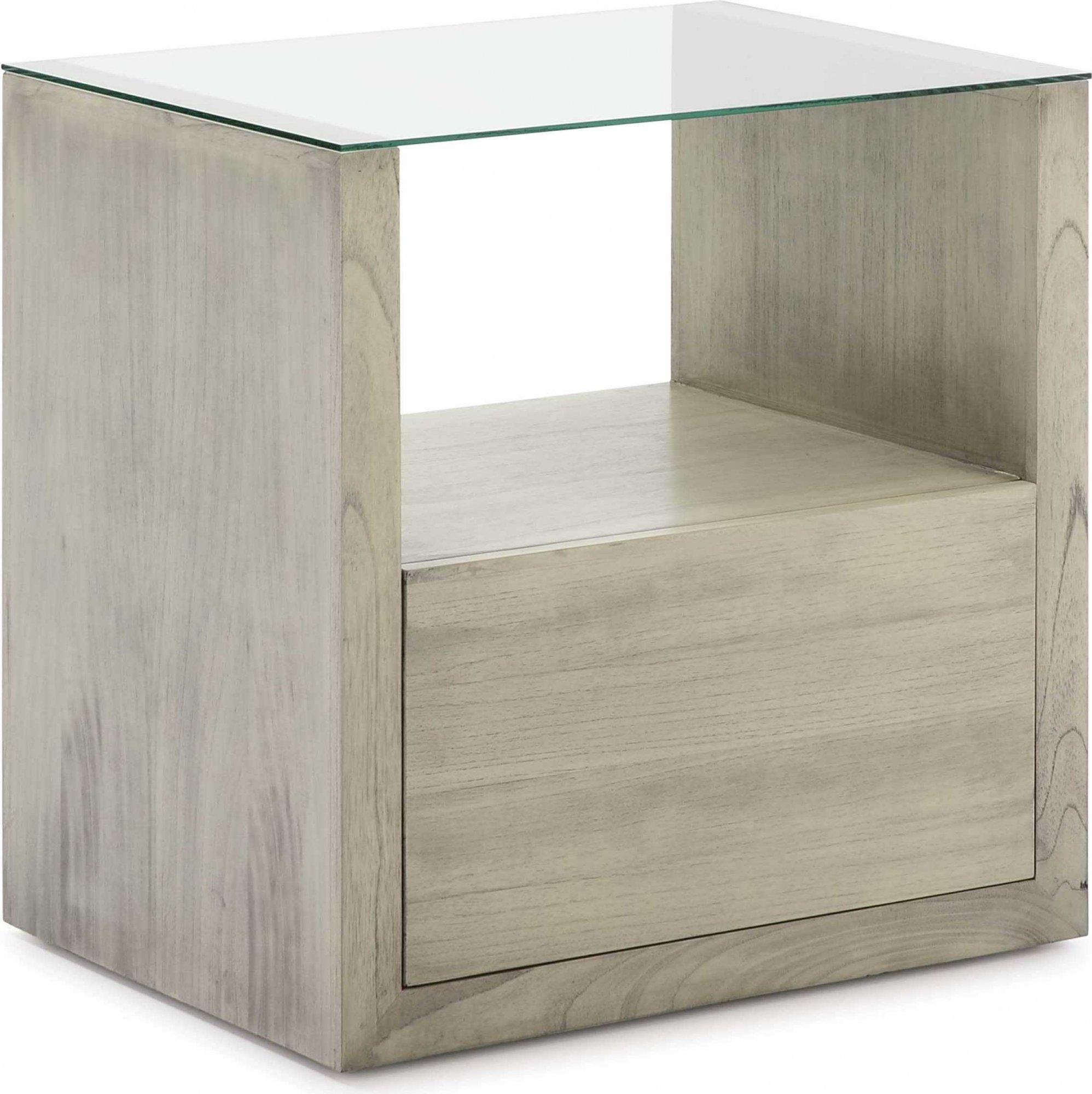 Table de chevet en bois gris clair plateau en verre