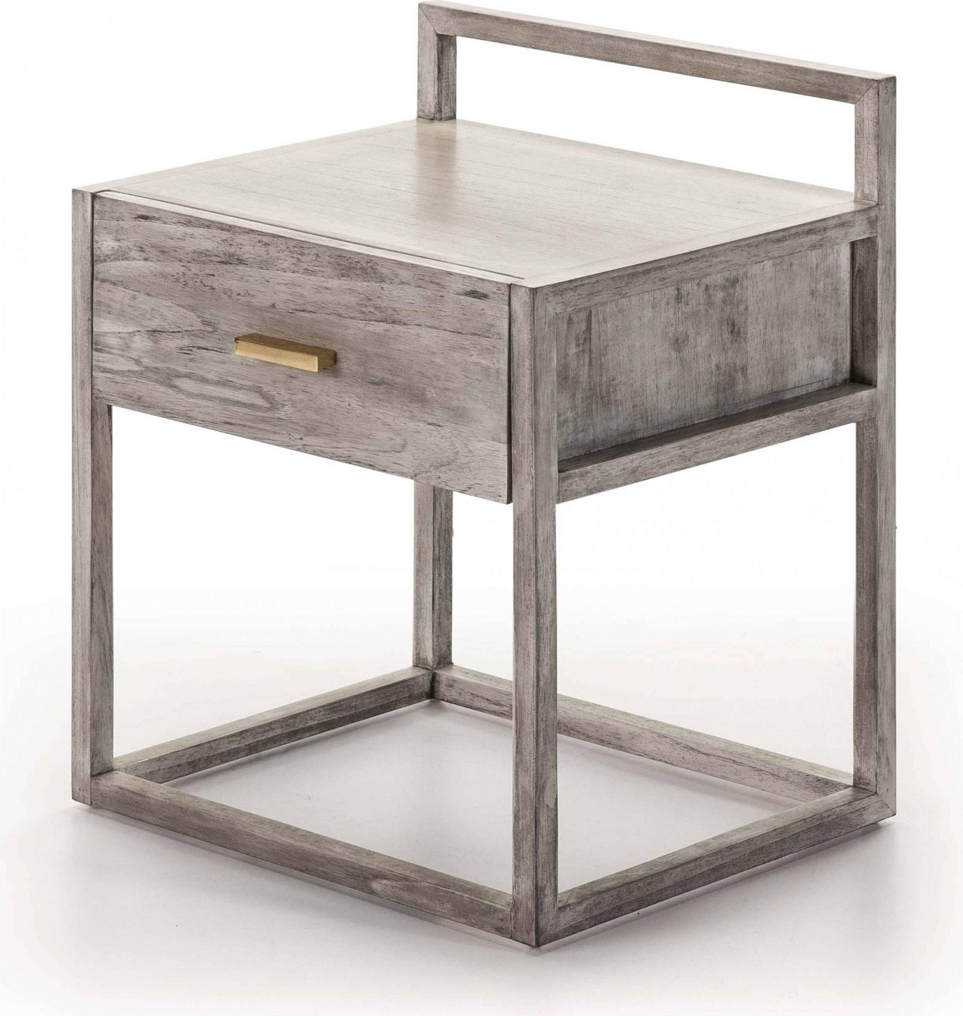 Table de chevet en bois beige et gris 50x40x60