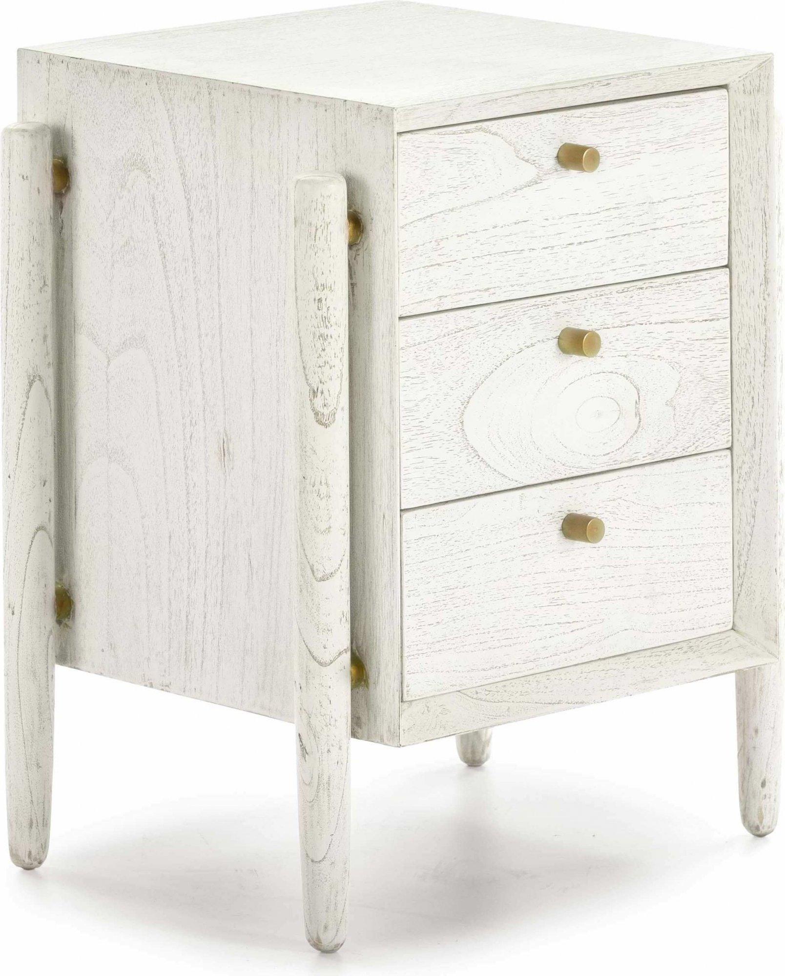 Table de chevet 3 tiroirs en bois teinté blanc et doré