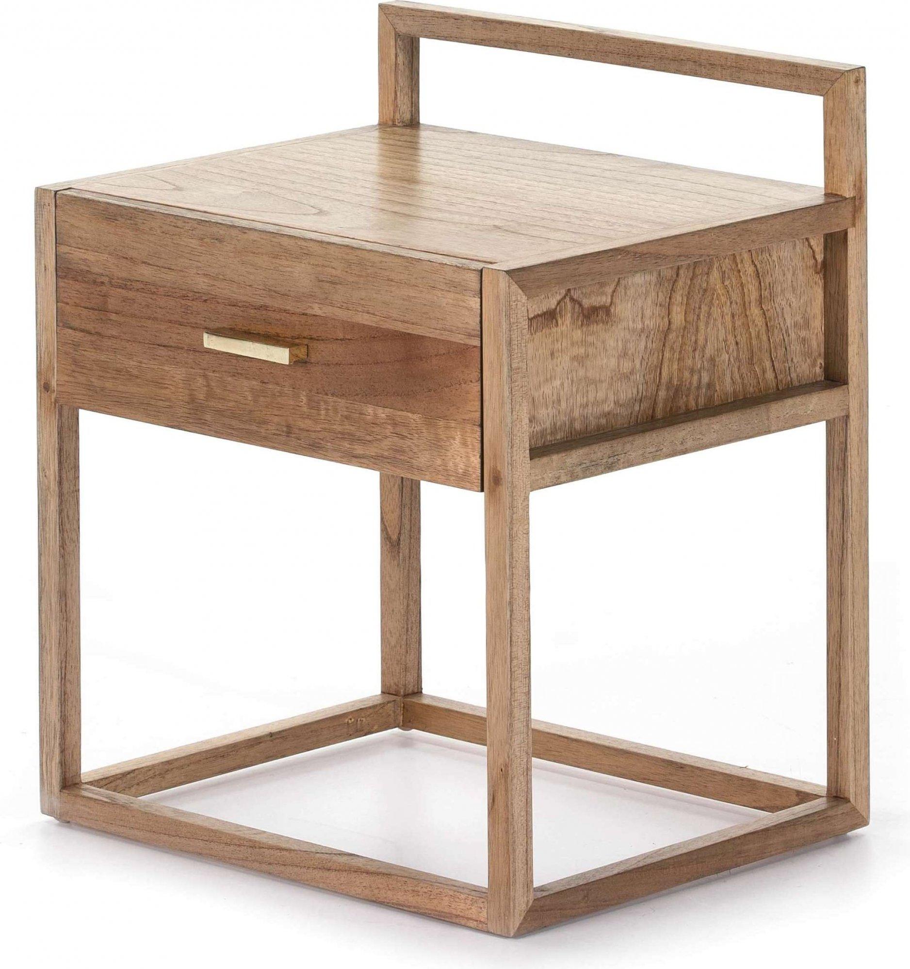 Table de chevet cubique en bois couleur clair et doré