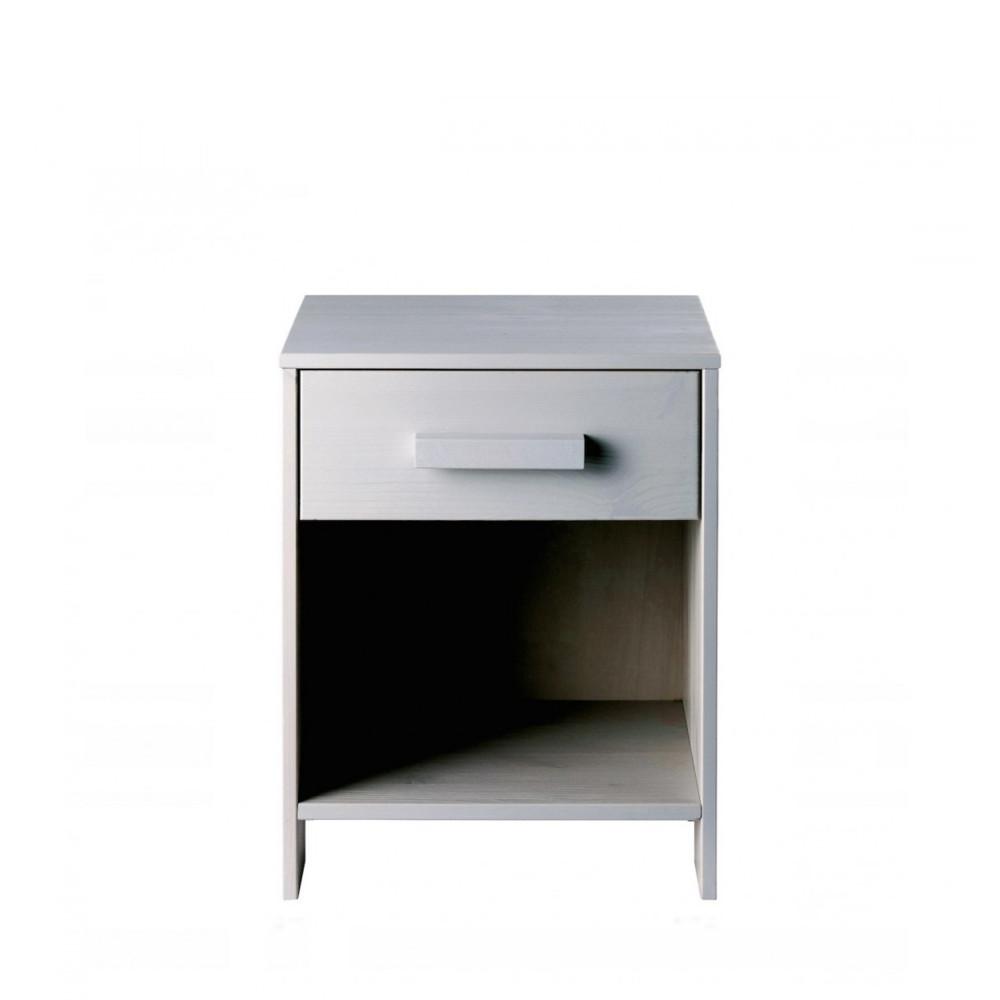 Table de chevet bois fsc gris béton