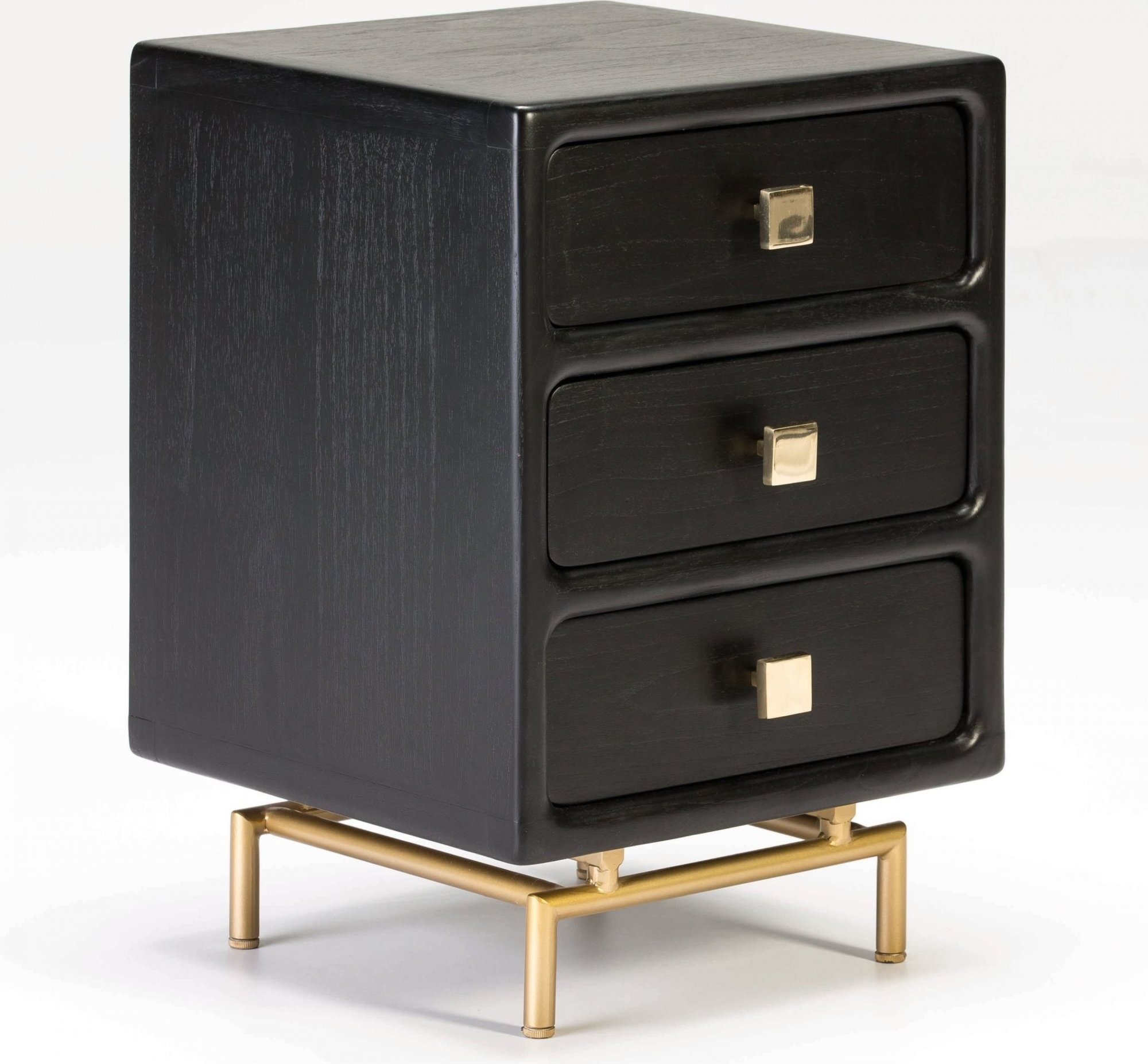 Table de chevet 3 tiroirs en bois teinté noir et doré