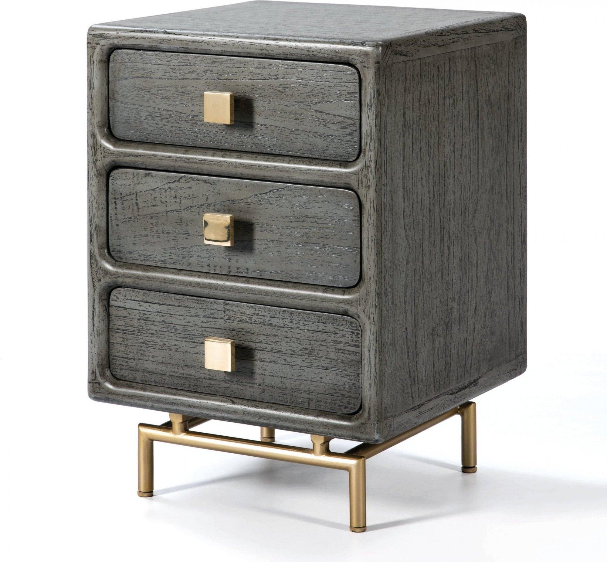 Table de chevet 3 tiroirs en bois cérusé gris et doré